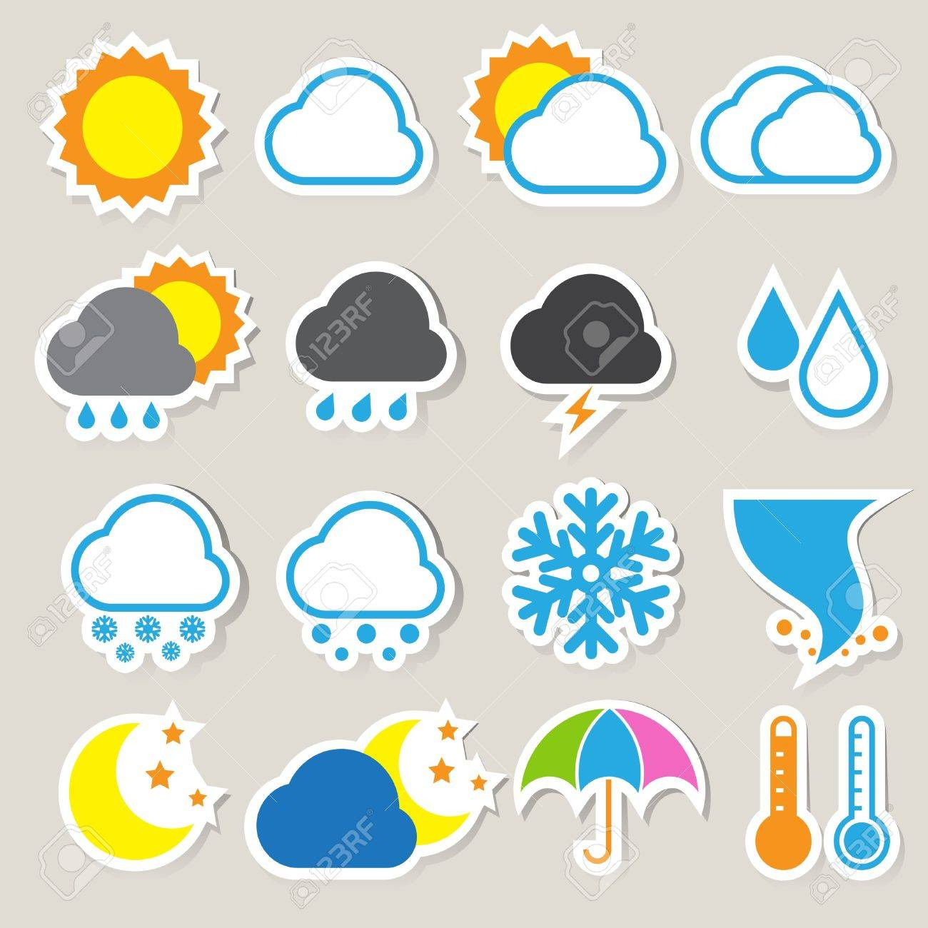 Icon set of weather ,Illustration eps 10 - 19080301