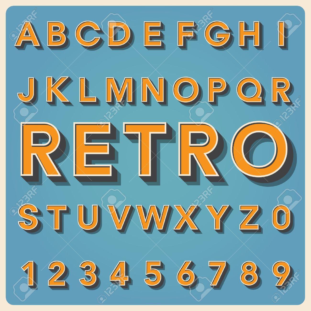 Retro type font, vintage typography ,Illustration Stock Vector - 19835044
