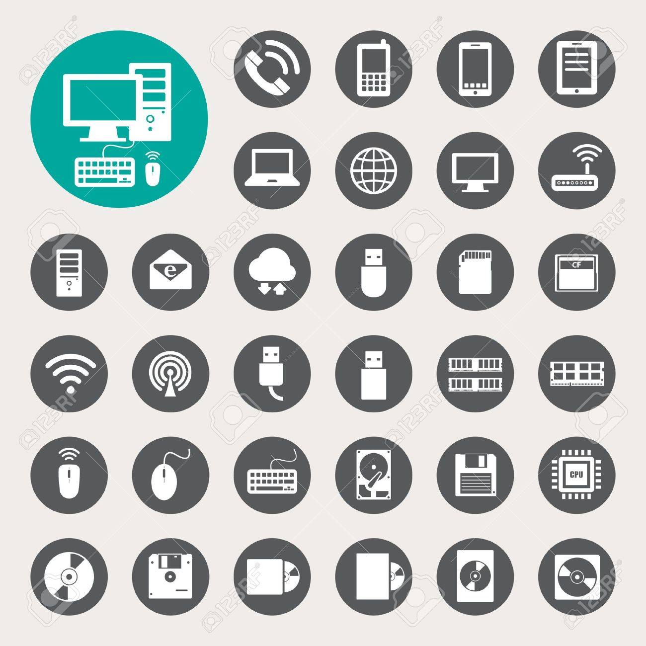 Mobile devices , computer and network connections icons set. Stock Vector - 20151303