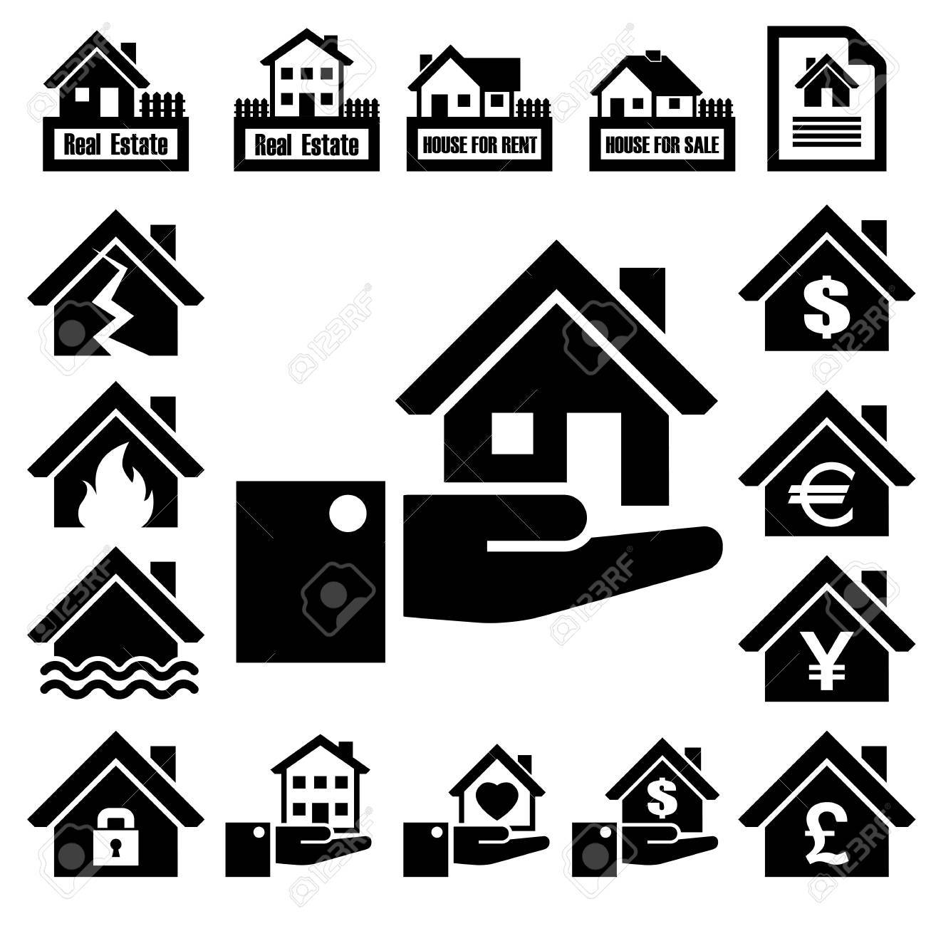 House insurance icons Set Stock Vector - 23659752