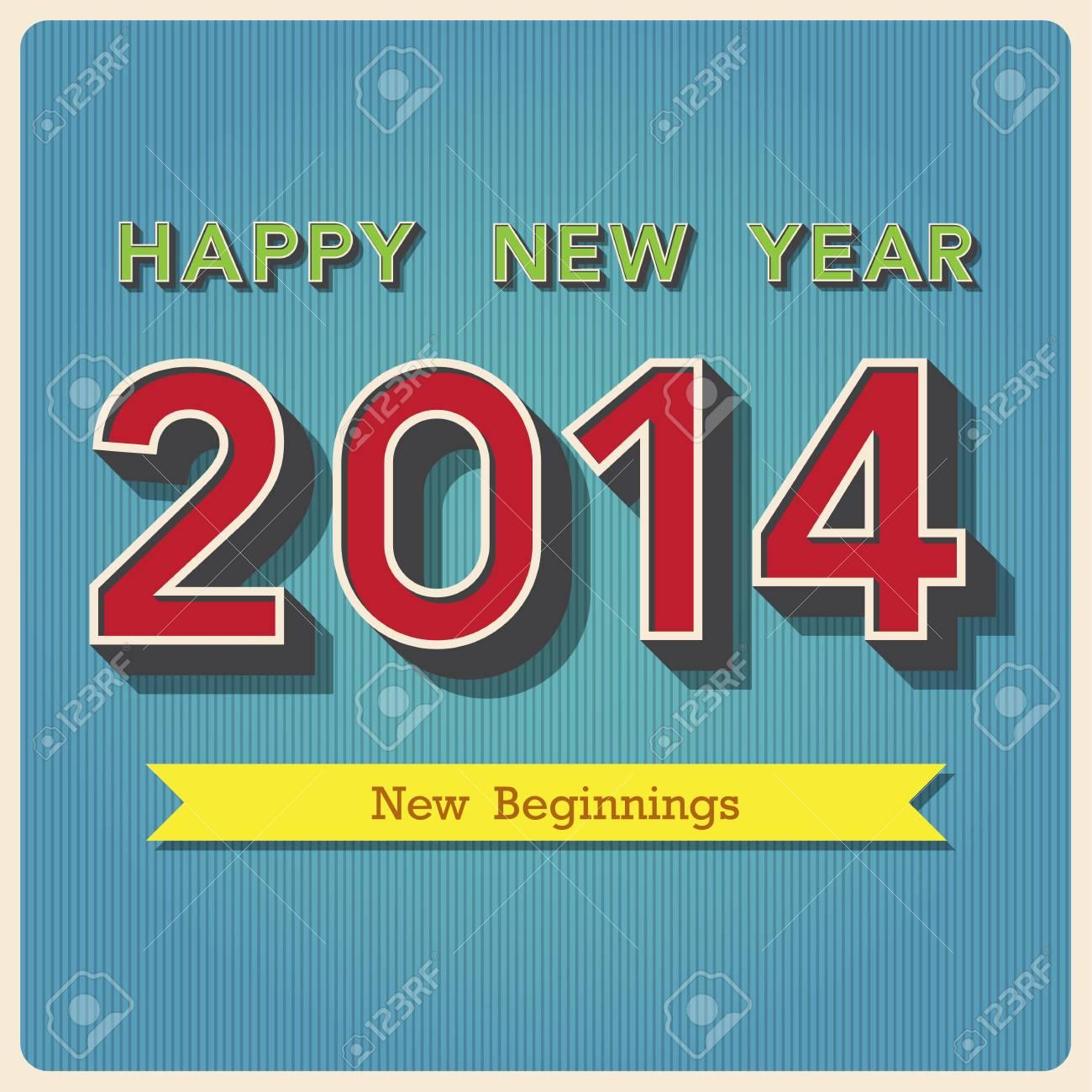 Happy new year retro poster. Stock Vector - 24440355