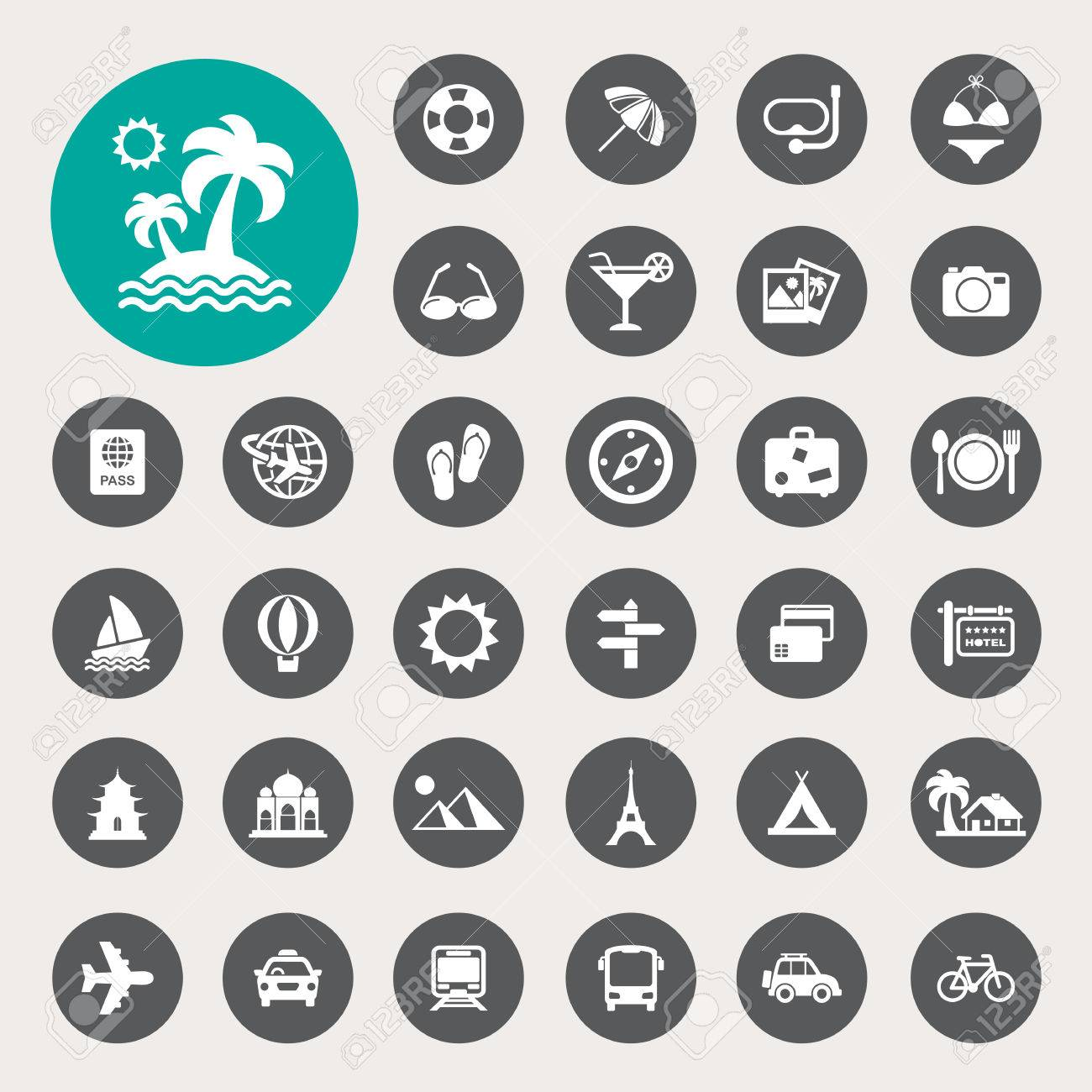 Travel and vacation Icons set - 25930872