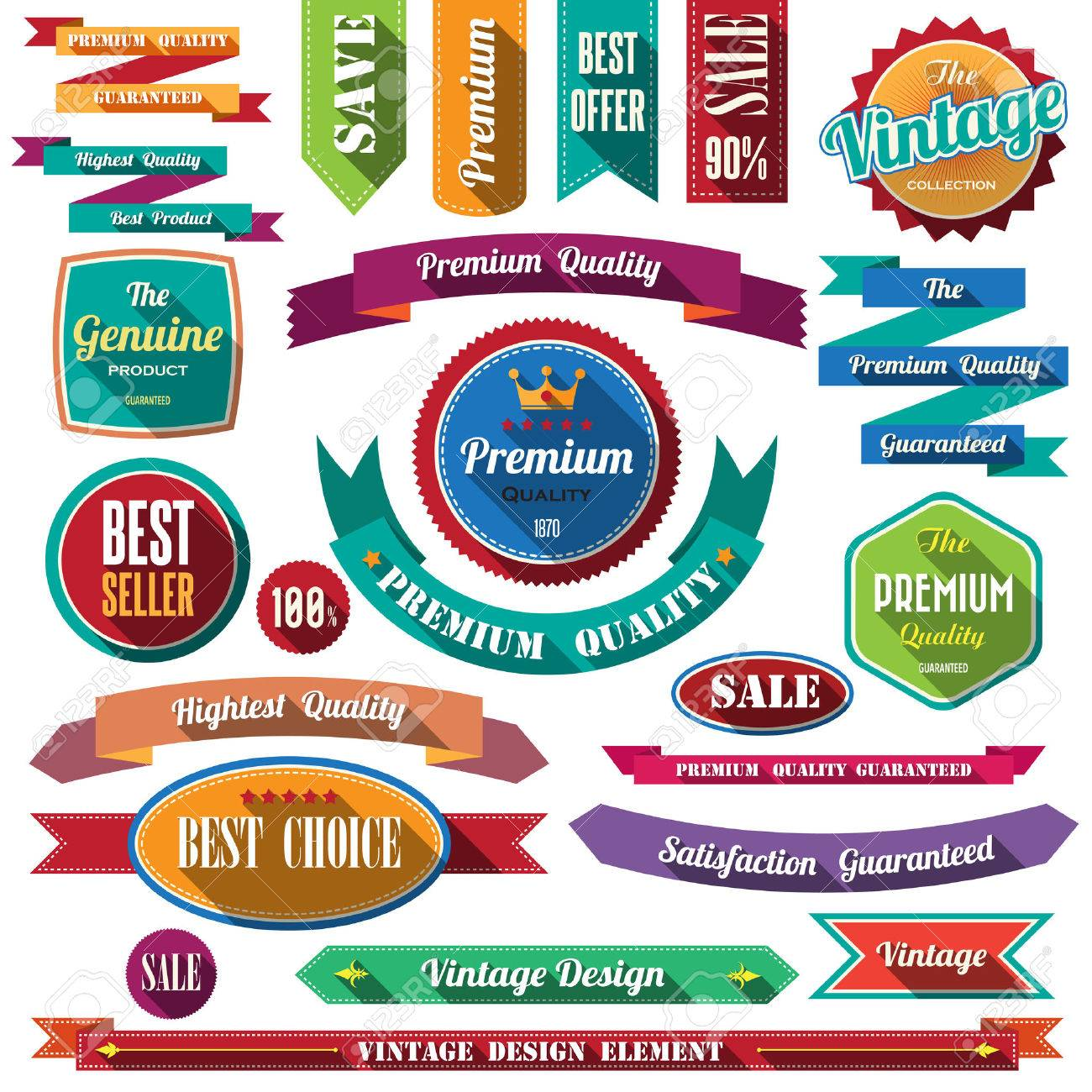 Set of retro vintage badges and labels. Flat design with long shadow . - 27894989