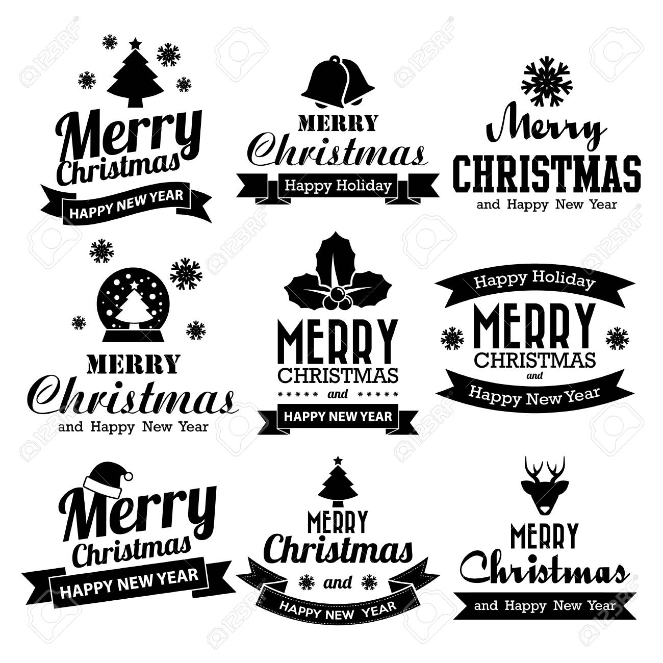 Christmas set of Calligraphic And Typographic Design With Labels, Illustration eps10 - 33615310