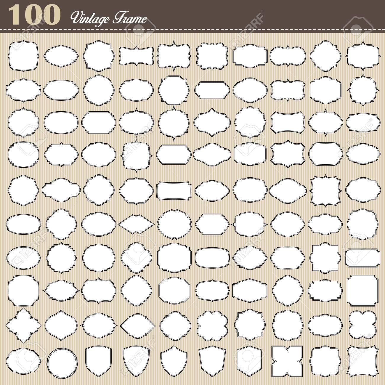 Set of 100 blank vintage frame on white background . Illustration - 37504230