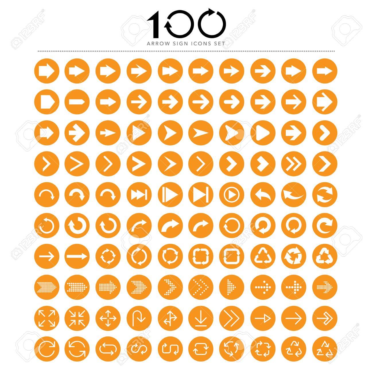 100 Basic arrow sign icons set.Illustrator. - 39327719