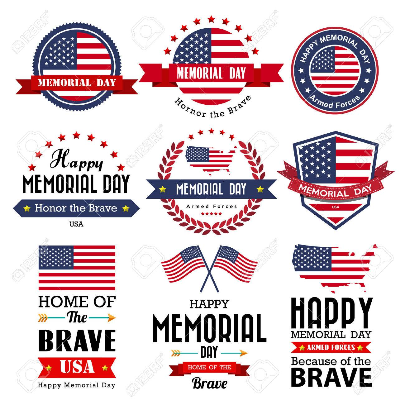 Happy Memorial Day vector greeting card ,badge and labels .Illustrator eps10 - 39570331