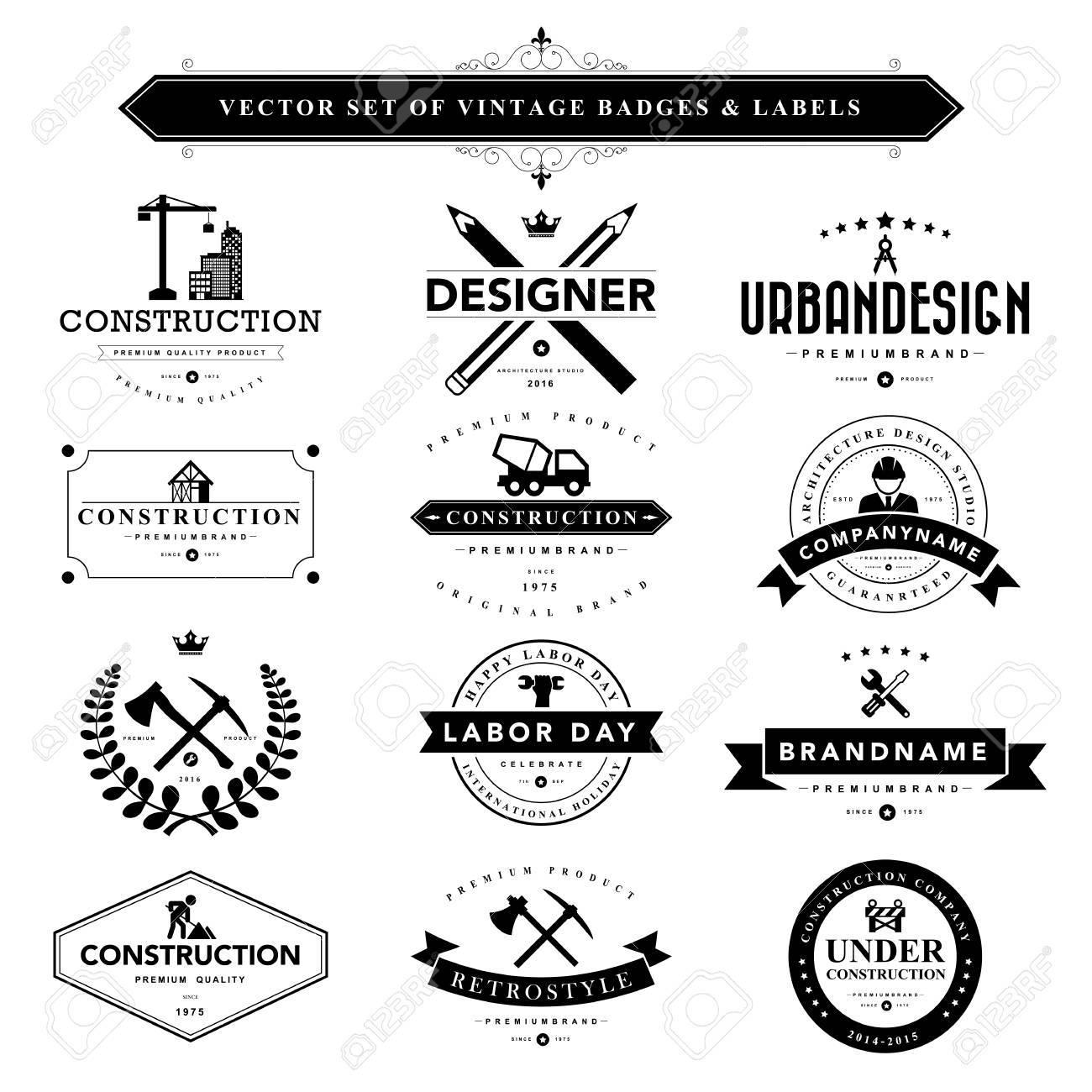 Set of black vintage badges and labels.Vector eps10 - 44544912