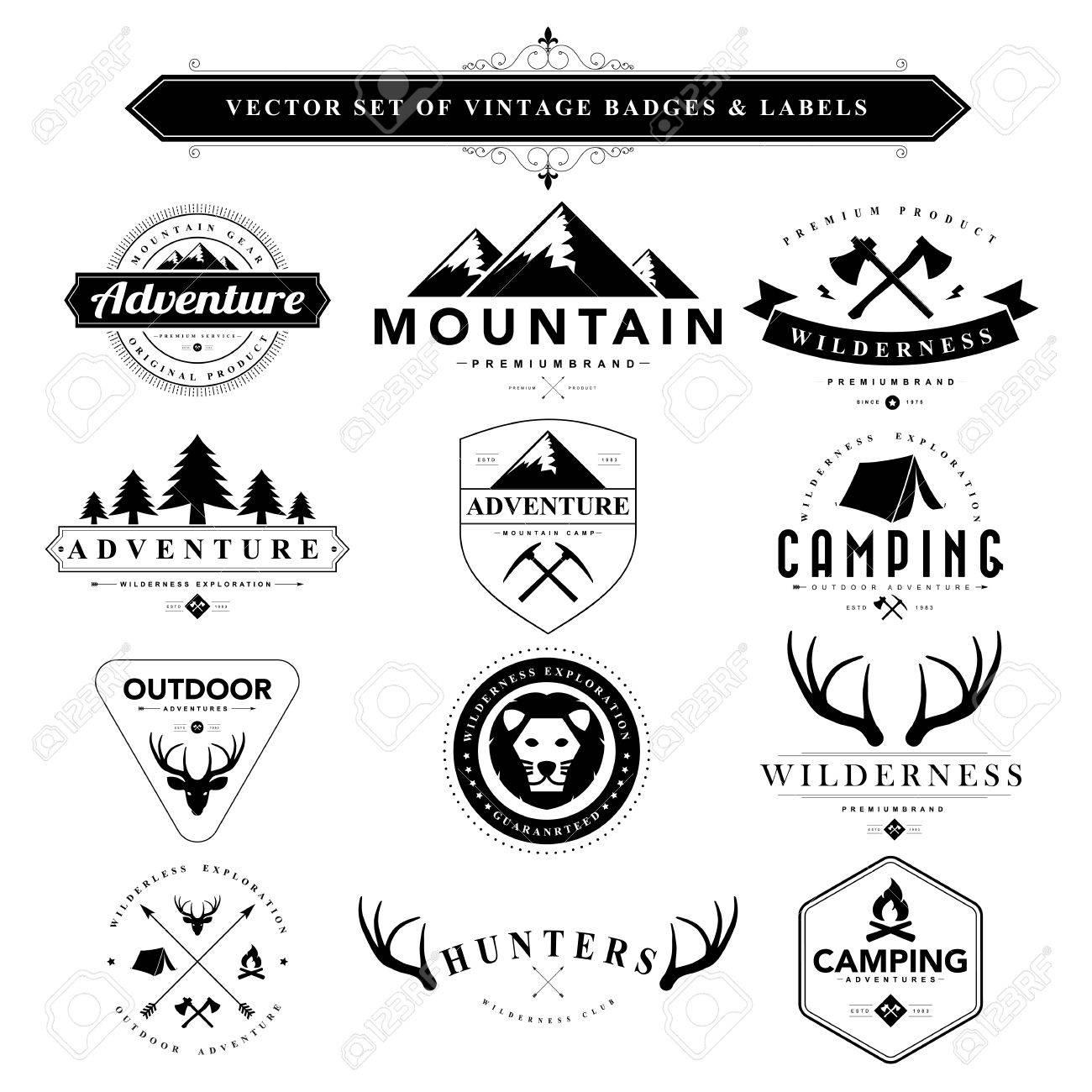 Set of black vintage badges and labels.Vector eps10 - 44544935