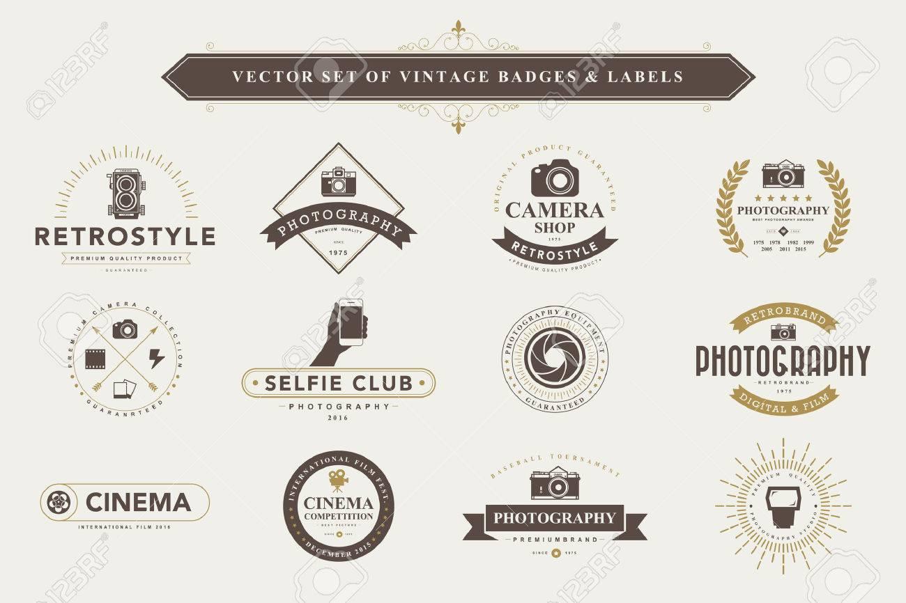 Set of vintage camera badges and labels - 44094379