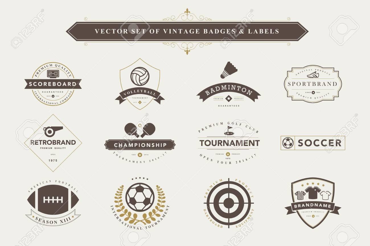 Set of vintage sport badges and labels - 44094382