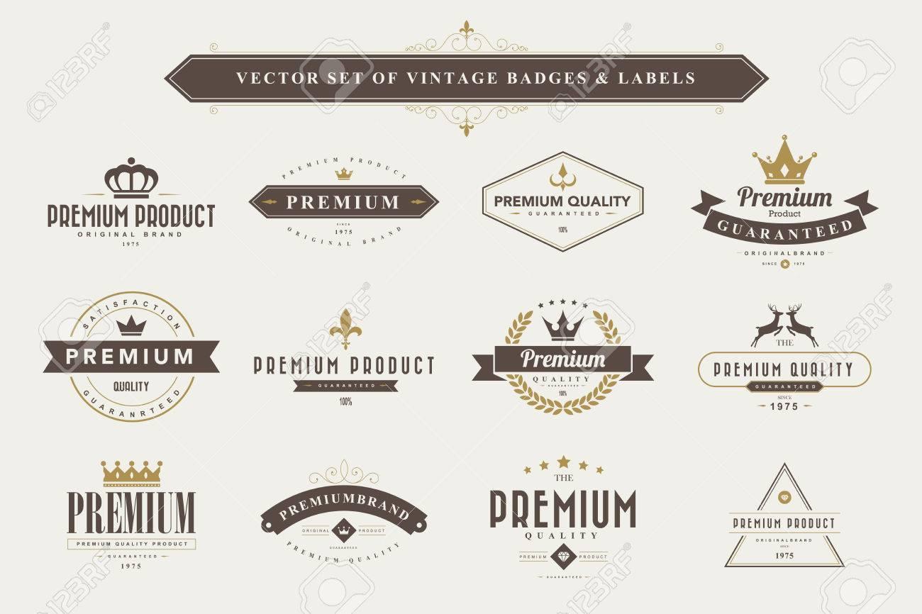Set of vintage badges and labels - 44094421