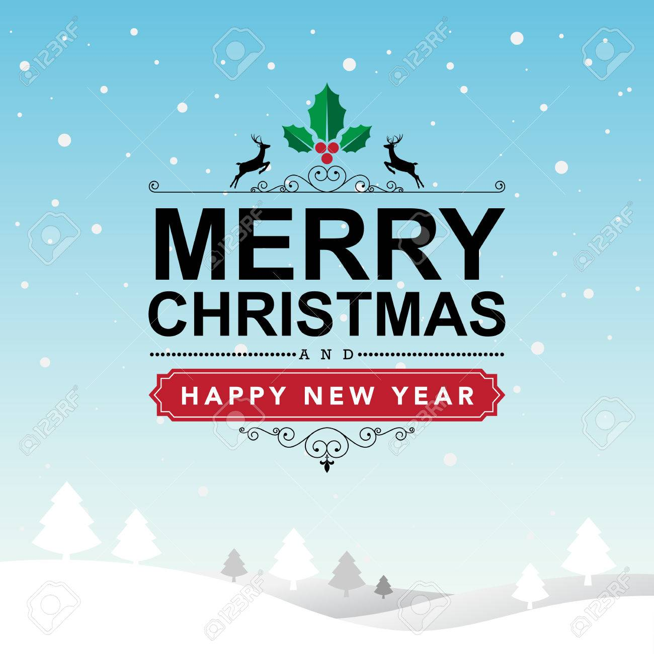 Merry Christmas and Happy New Year typographic background,Illustration - 46777882