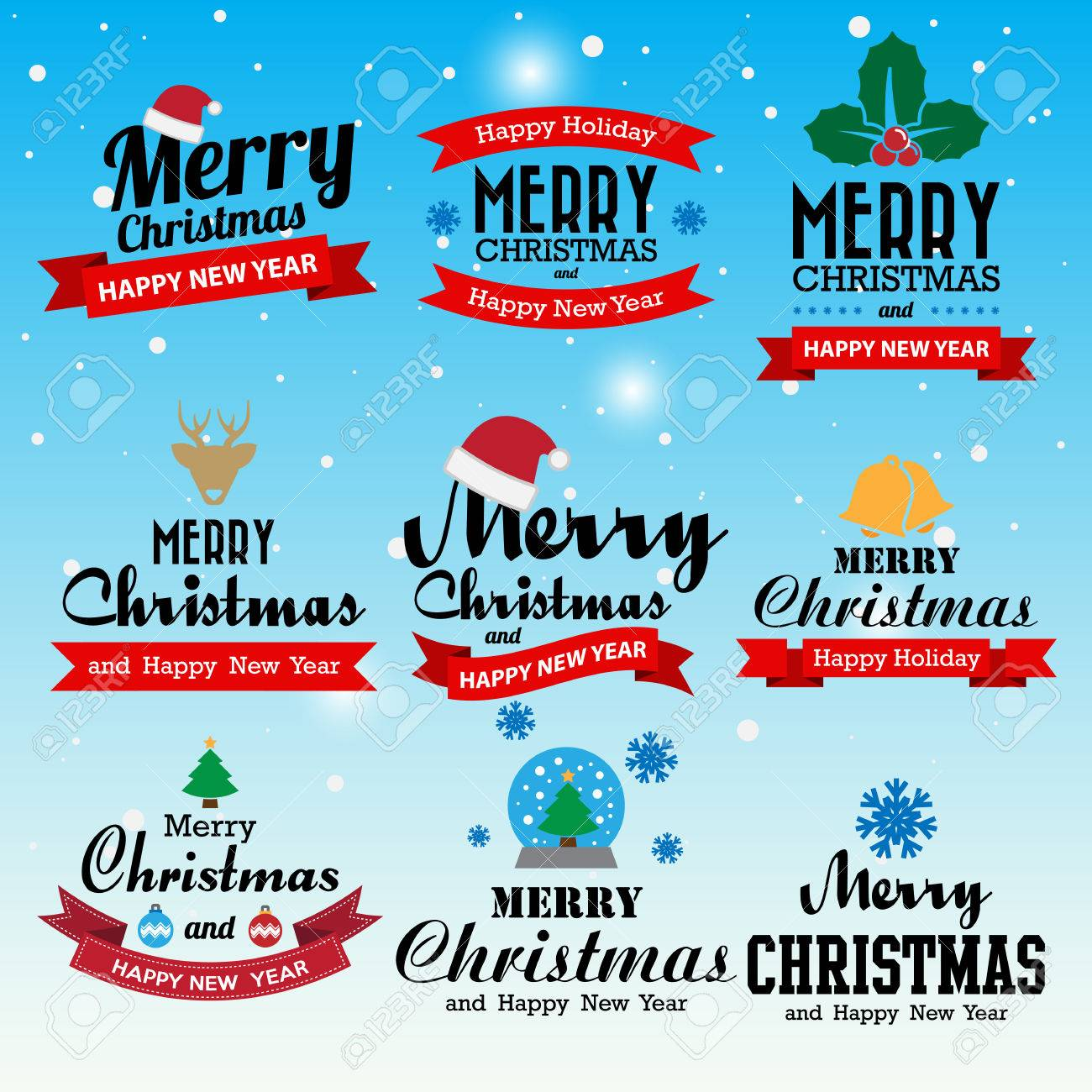 Merry Christmas and Happy New Year typographic background,Illustration - 46777928