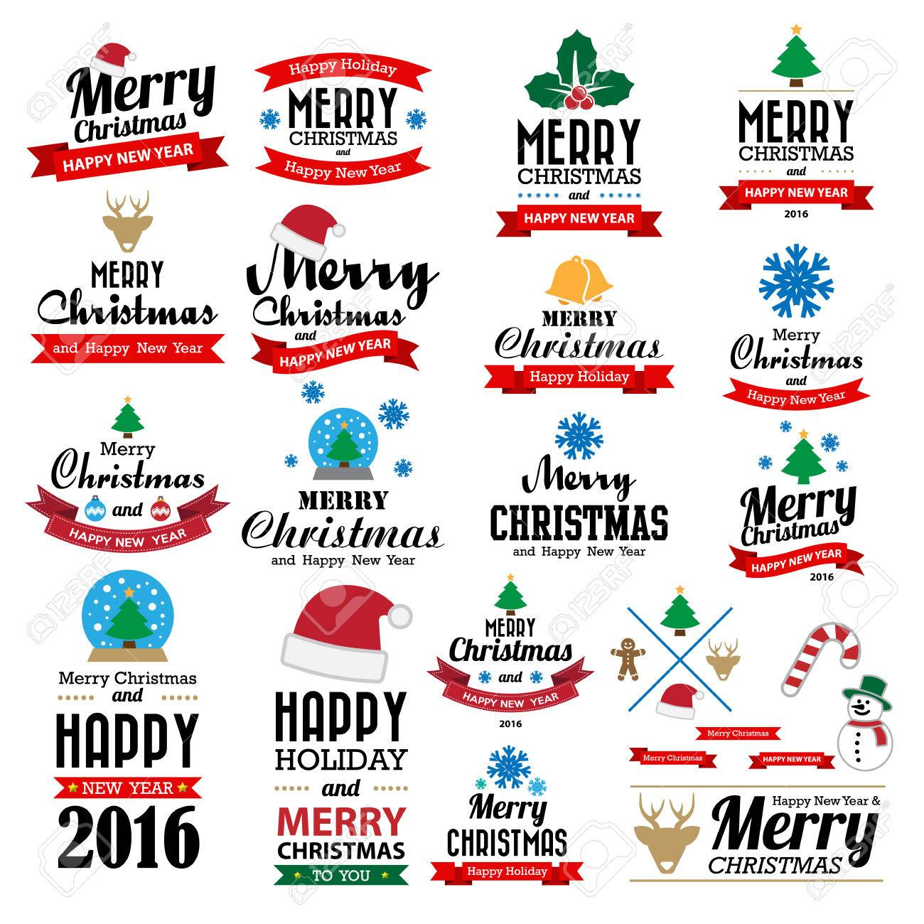 Merry Christmas and Happy New Year typographic background,Illustration - 46777939