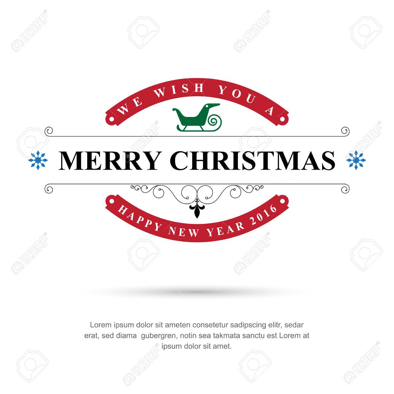 Merry Christmas and Happy New Year typographic background,Vector eps10 - 47039531