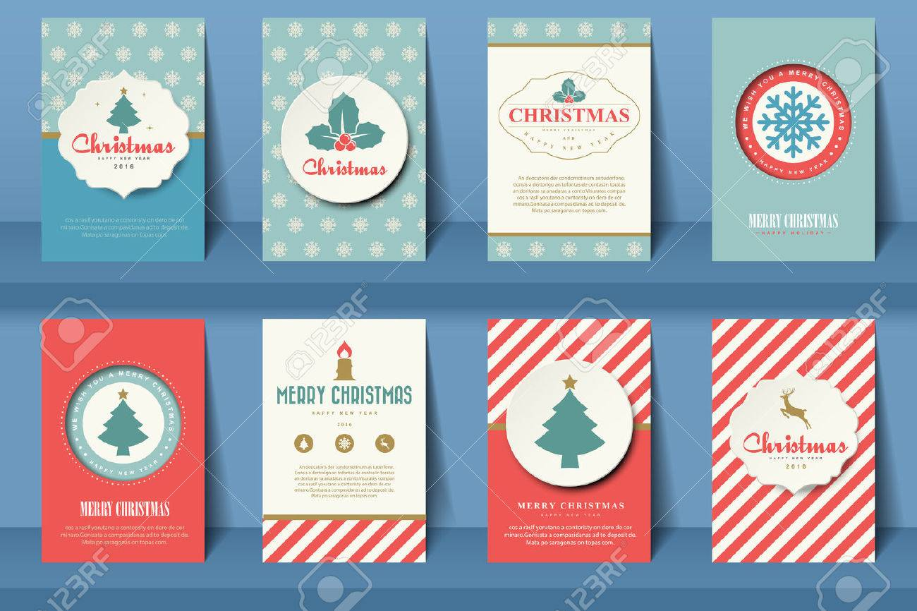 Set of Christmas brochures in vintage style .Vector eps10 - 48510163