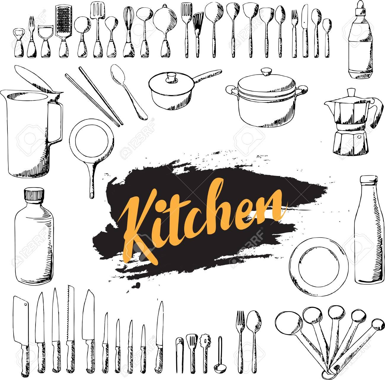 Kitchen Utensils Hand Draw Set Doodle Illustration Eps10 Royalty