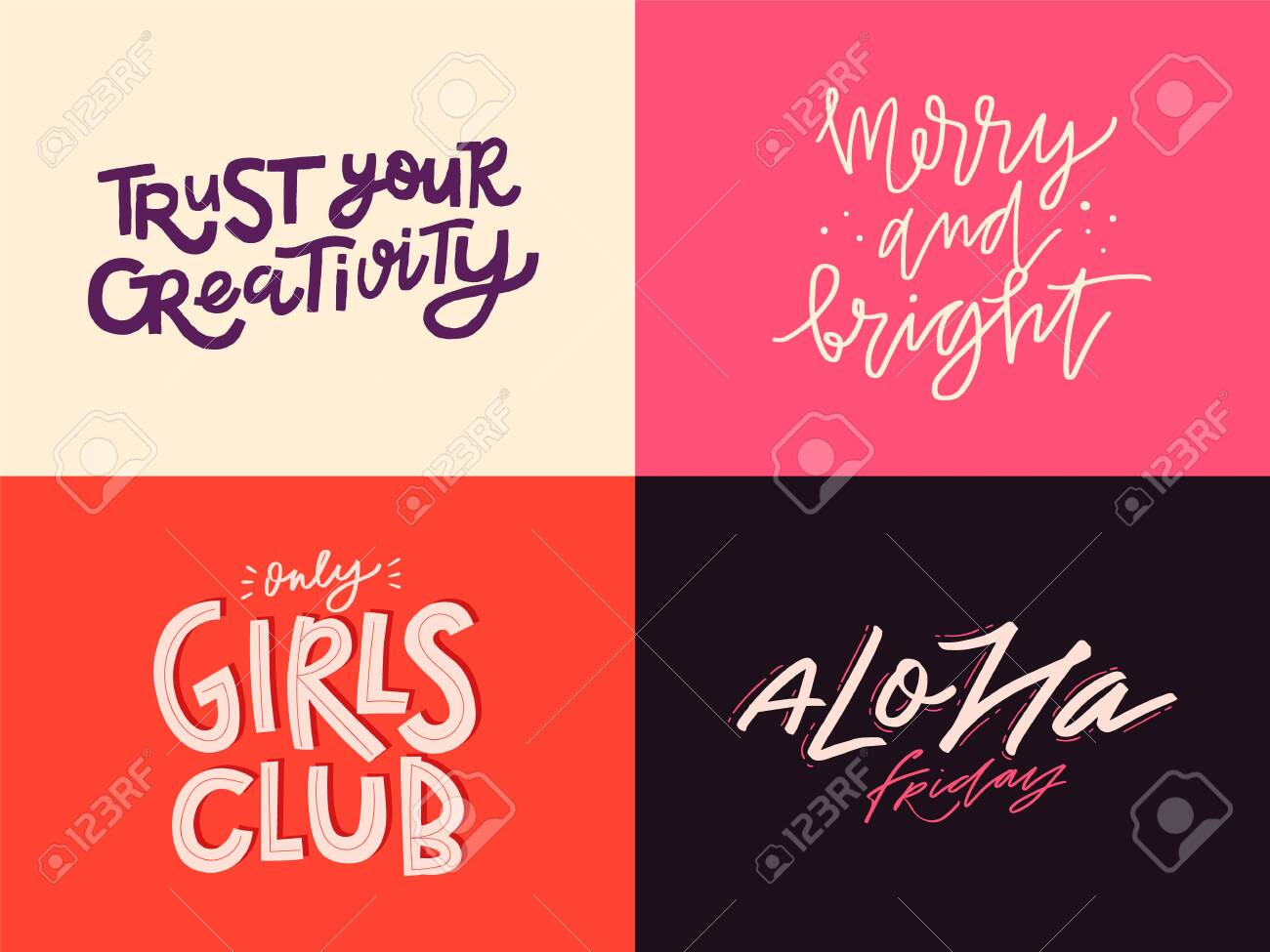 Set of inspirational quotes. Lettering design in different styles. Doodle trendy illustration with motivational phrases. - 149848335