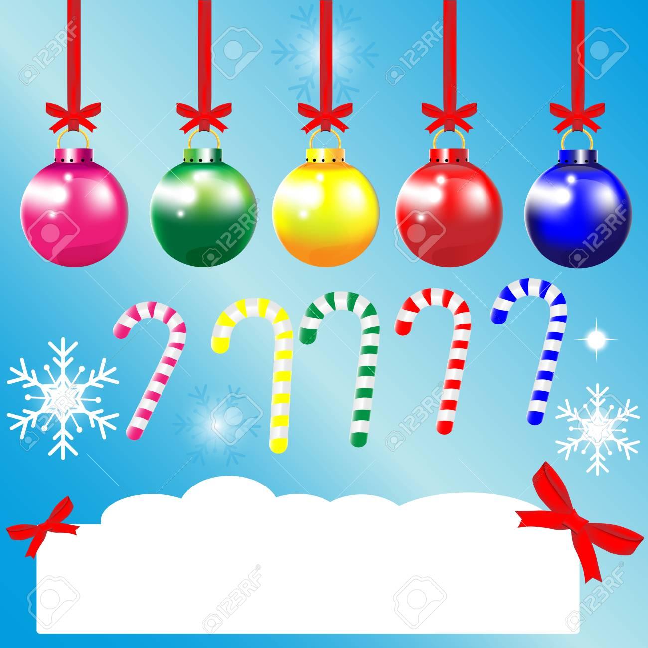 Christmas Greeting Cards Ornament Ball Snowflake Ribbon Blue ...