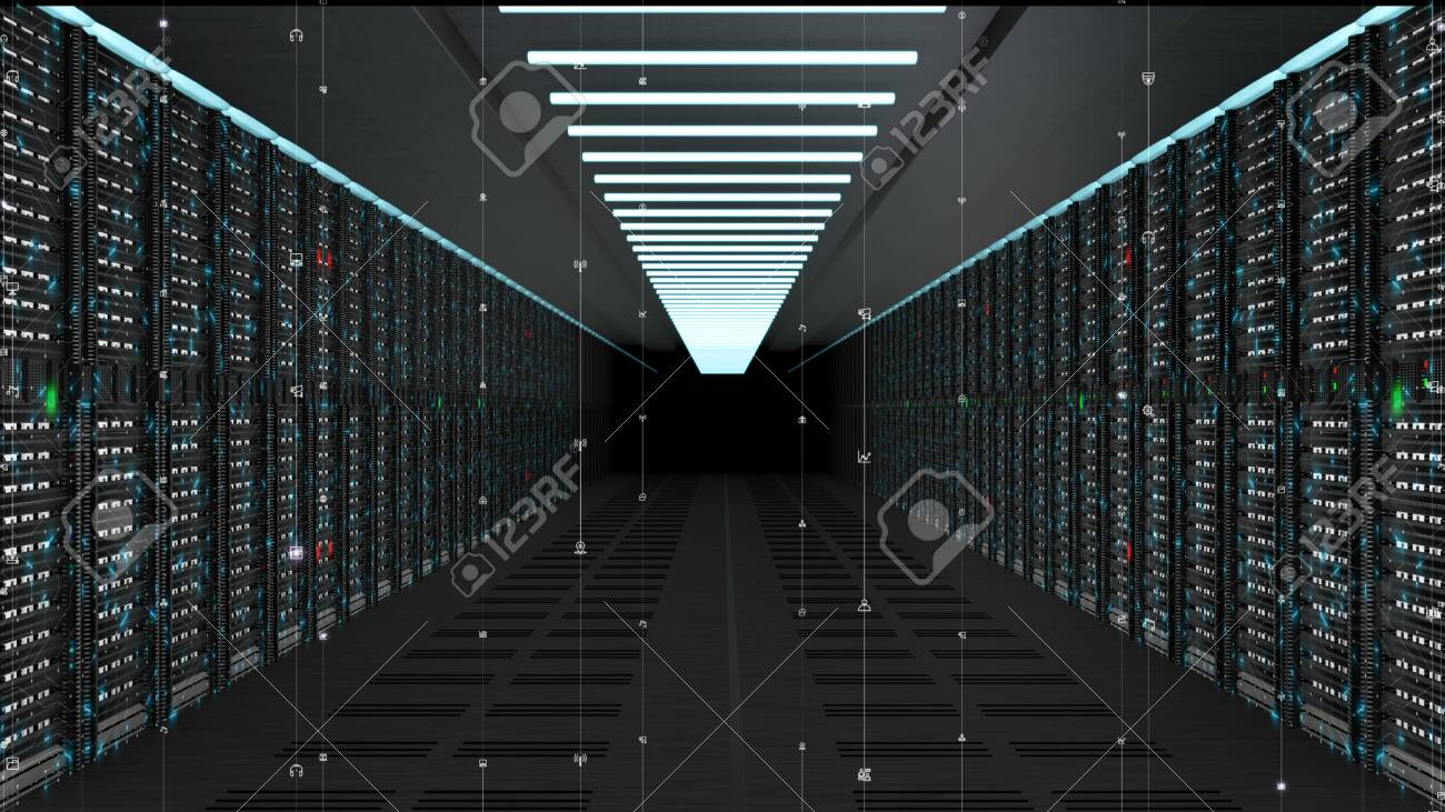 Digital data network servers in a server room of a data center or ISP with Electric circuit high speed data transfer - 158180097