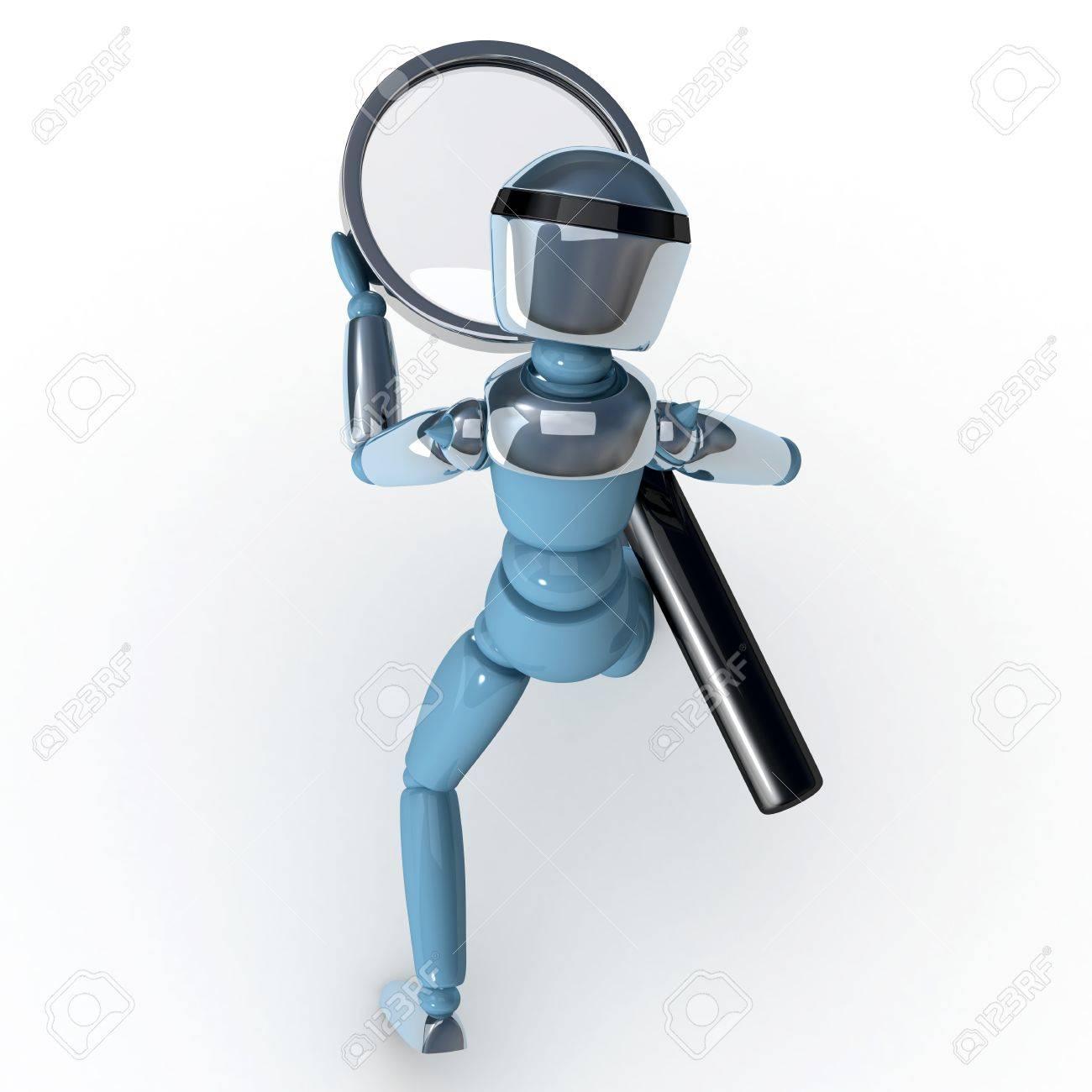 Magnifying glass robot Stock Photo - 12470565