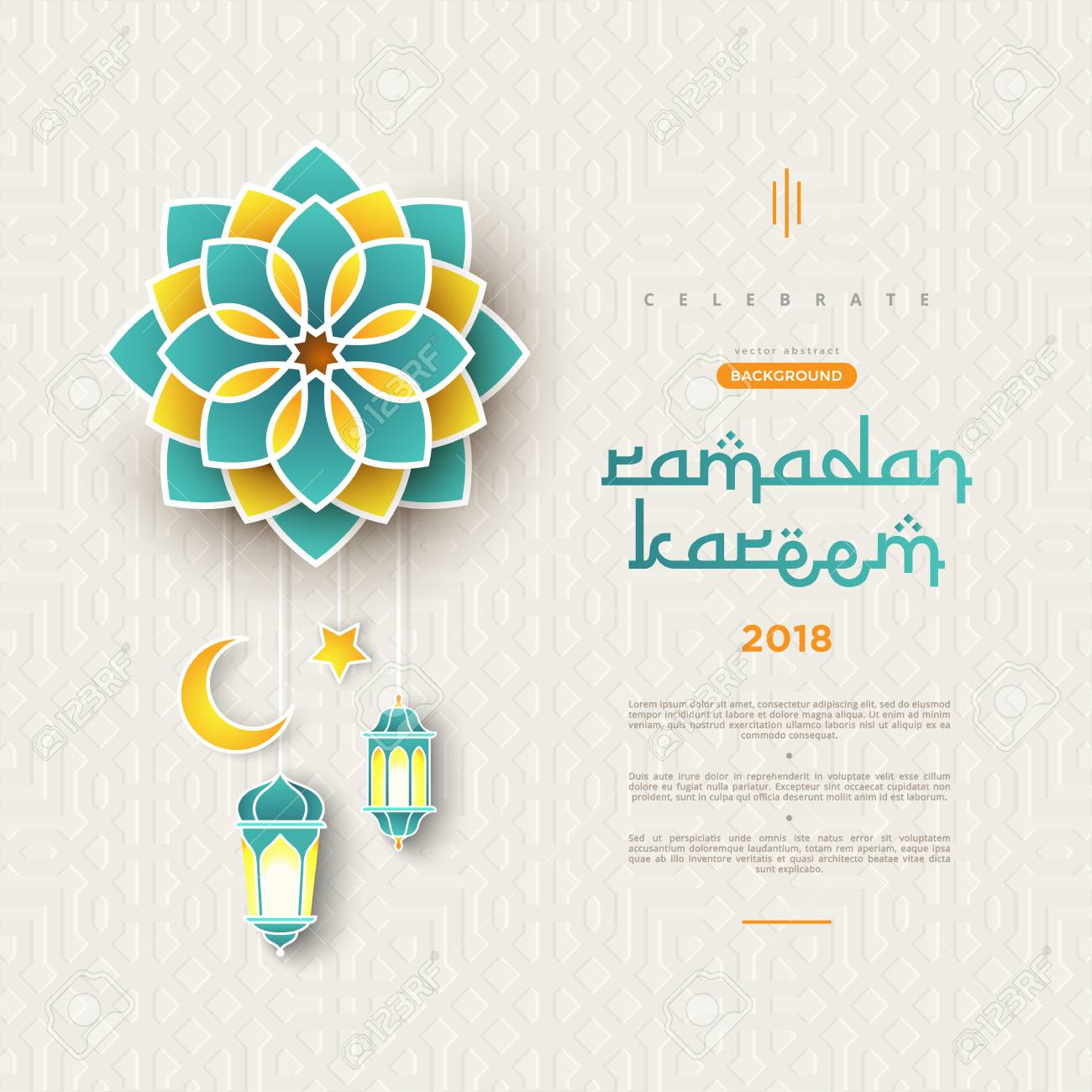 Ramadan Kareem concept banner with islamic geometric patterns and frame. Paper cut flowers, traditional lanterns, moon and stars on dark green tosca background color. Vector illustration - 102166284