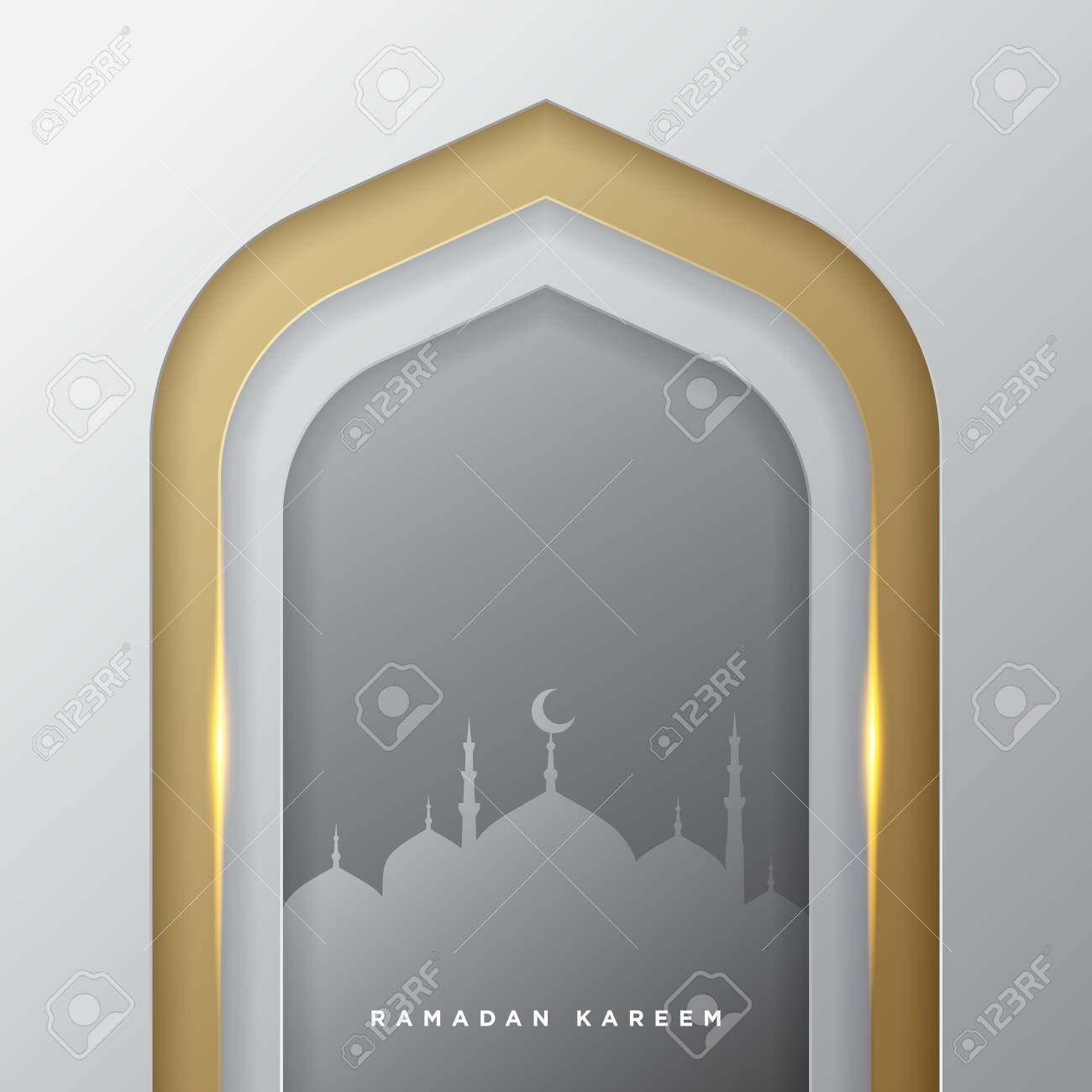Islamic mosque door for ramadan kareem vector greeting banner background with art paper cut style, golden silver and mosque scenery. Creative design card, poster. Traditional Islamic holiday - 121567006