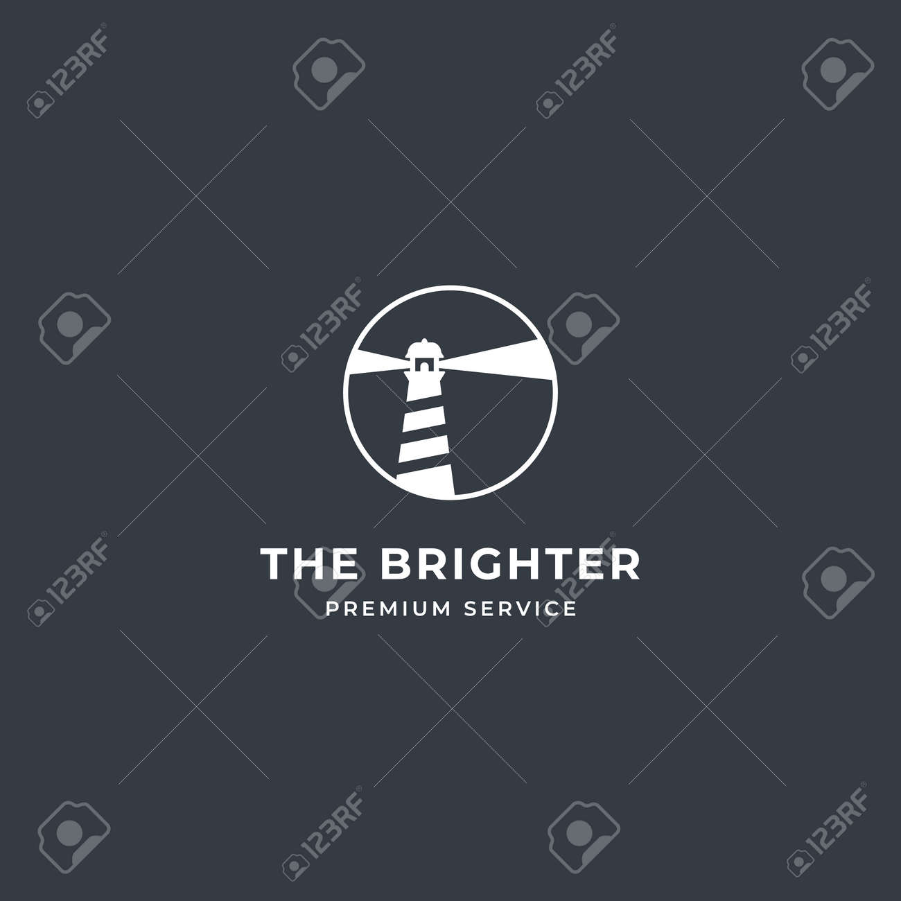 Lighthouse Tower Island logo with searching light and rock coral. premium vector - 162381769