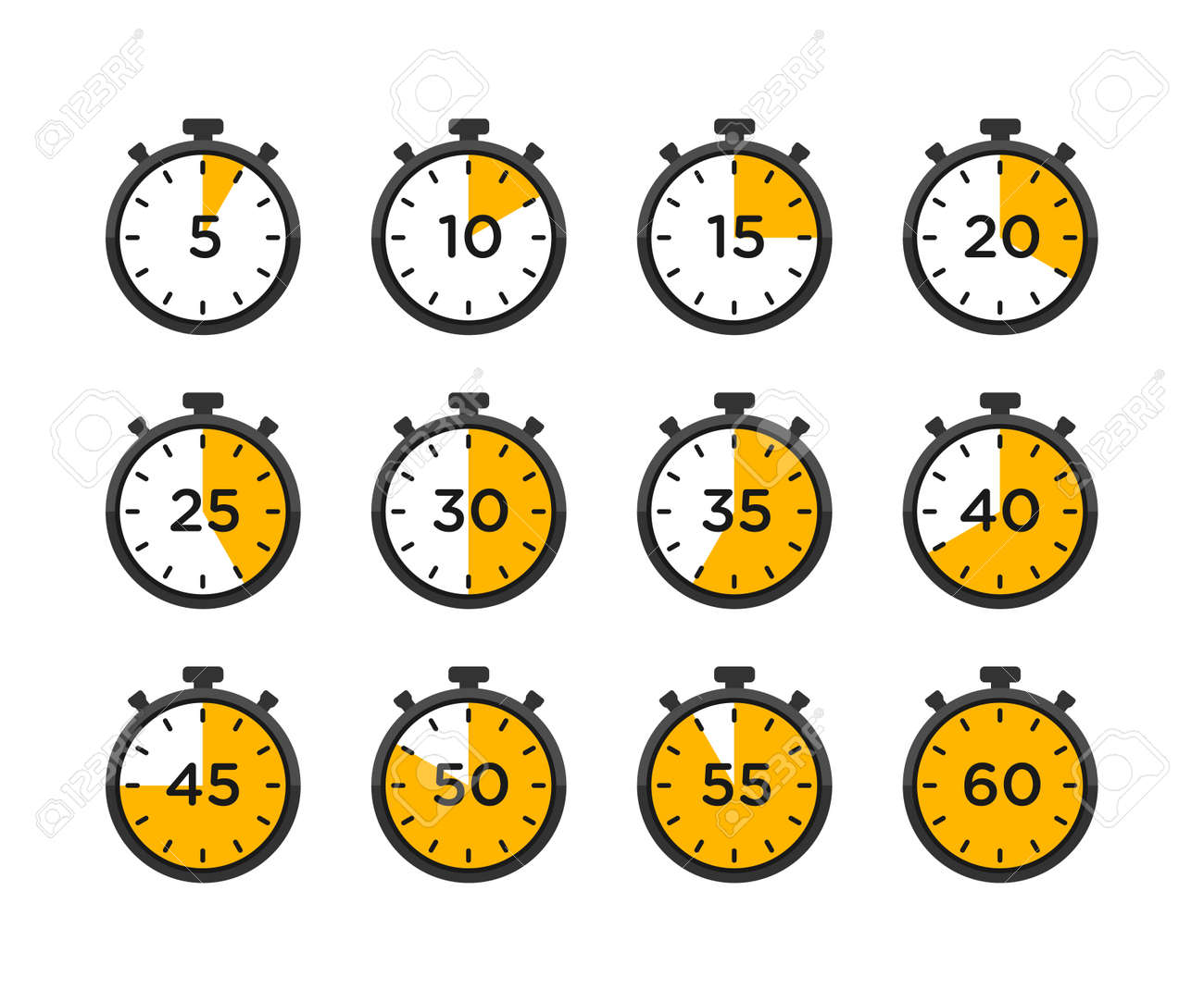 Set of timer and stopwatch icons. timer icon with different minutes - 162381770