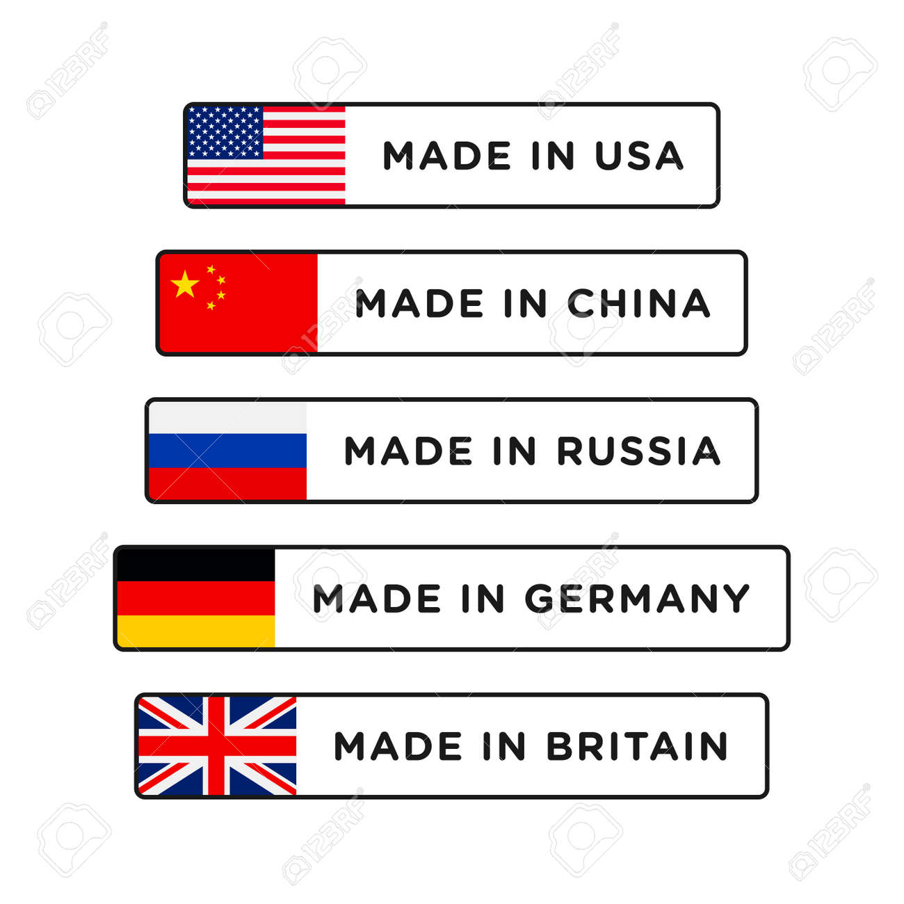 Made in USA, China, Britain, Germany and Russia badge with flag. Made in banner isolated on white background - 162381775