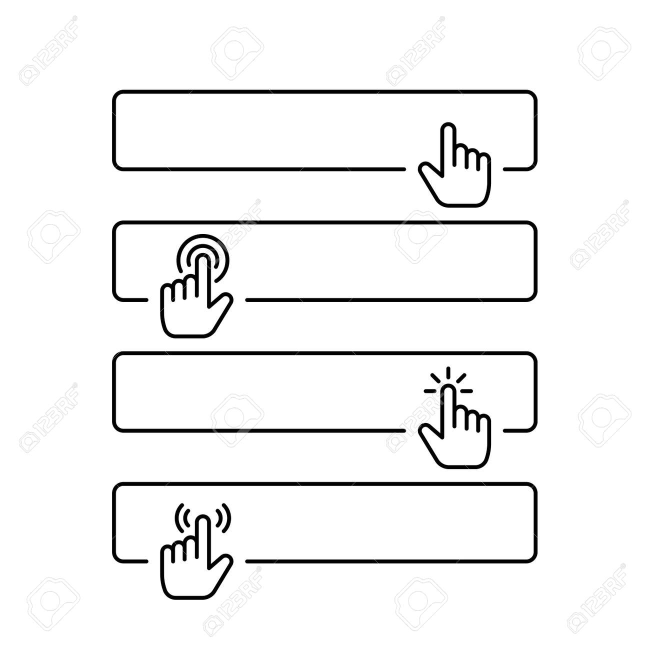 Click submit blank button in line style design with various hand finger cursor - 162381811