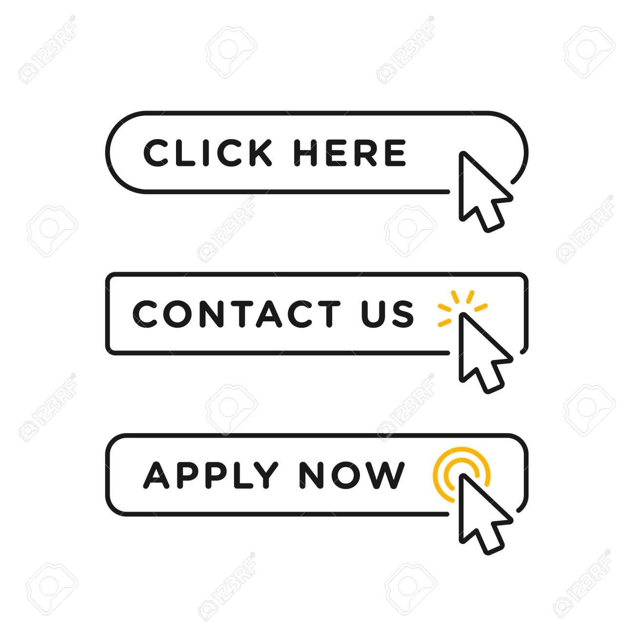 Click here, contact us and apply now blank button in line style design with various arrow pointer cursor - 162381822