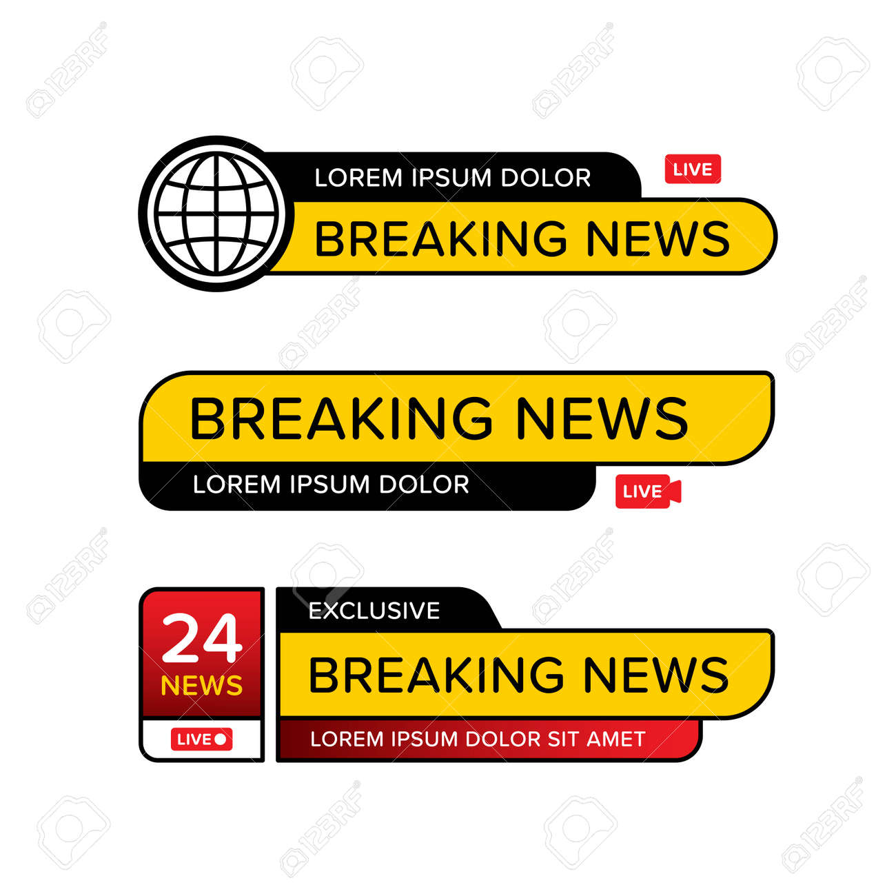 Set of breaking news banner template in various shape. Designed in different style and icon logo. Premium vector - 162381864