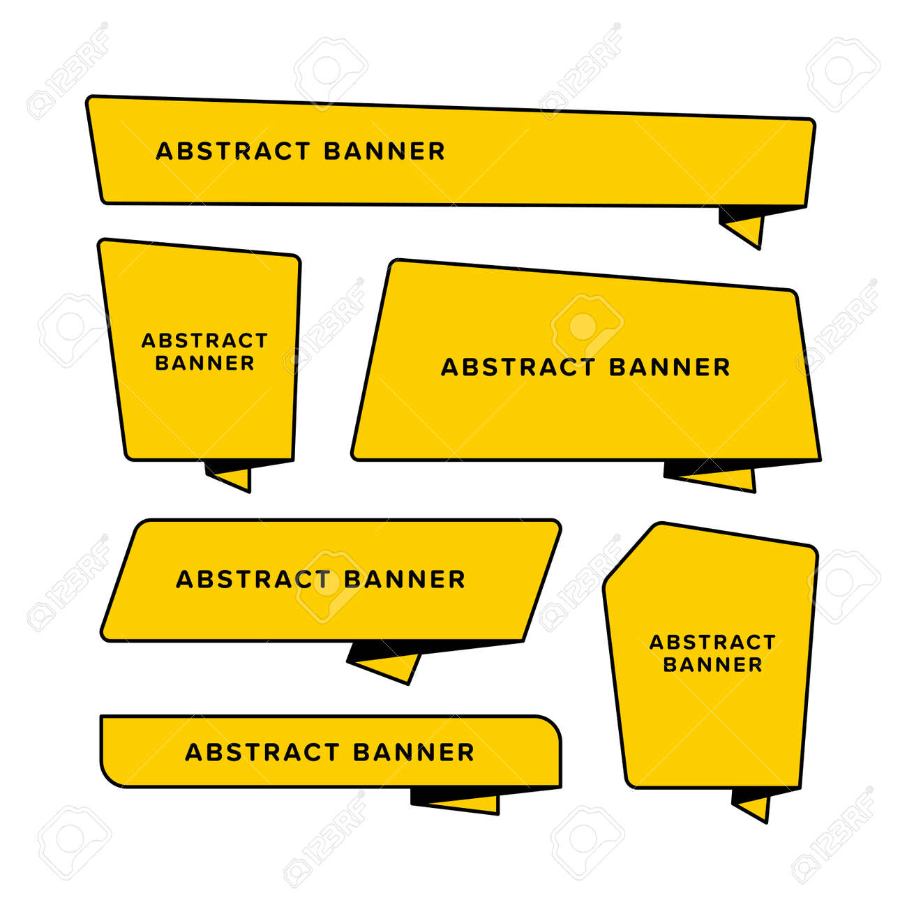 Set of yellow abstract banner designed in different shape. Designed in folded paper style. Origami vector illustration. Premium vector - 162381867