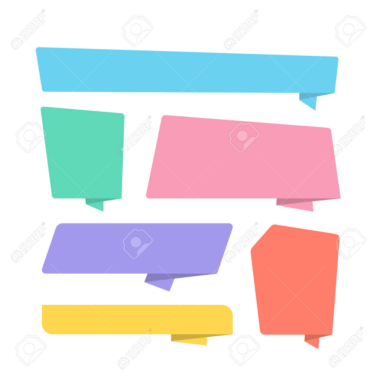Collection of colorful folded paper style banner designed in different shape. Origami vector illustration. Premium vector - 162381912