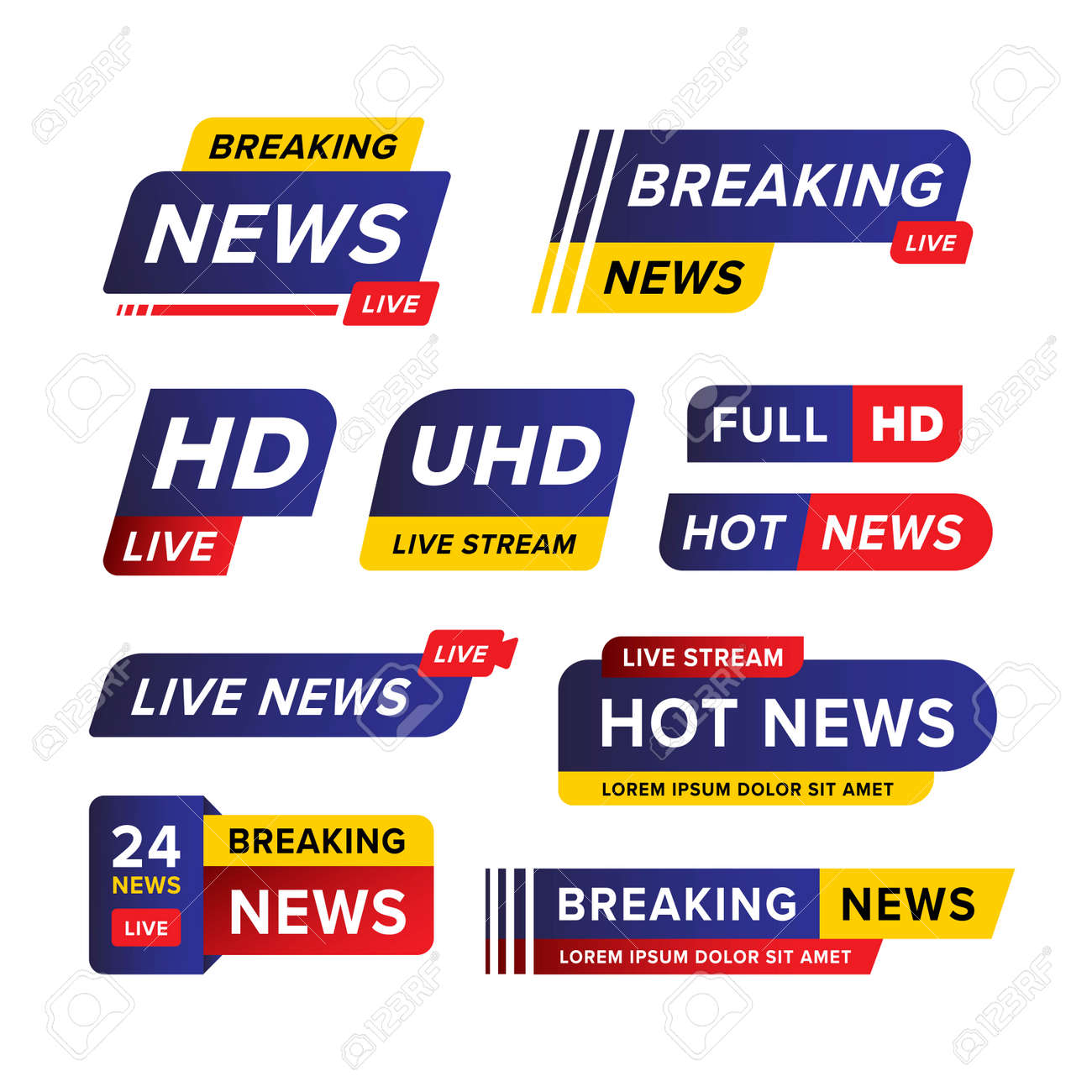 Set of breaking news banner template designed in blue red and yellow in various different shape and style. Creative vector illustration. Premium vector - 162381917