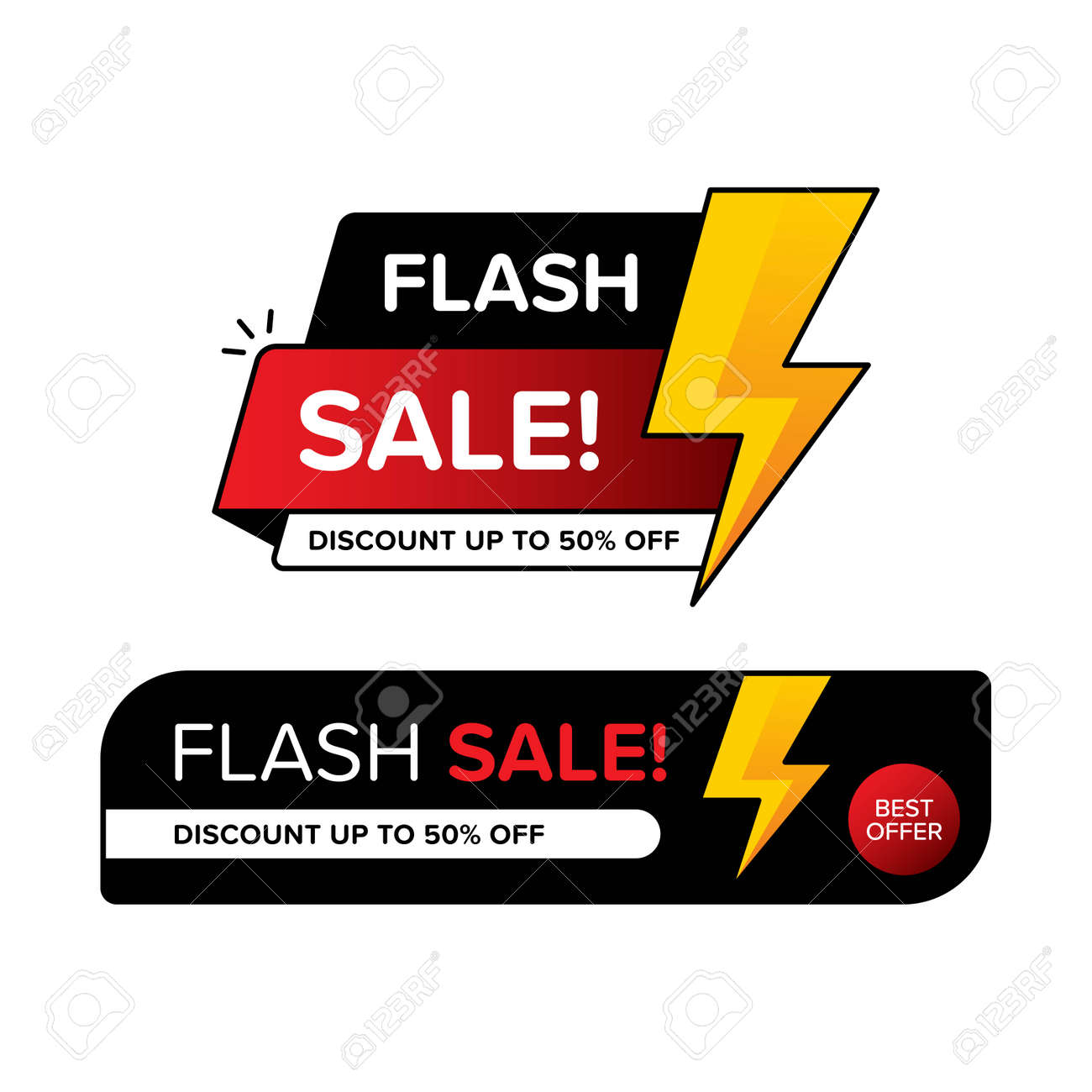 Collection of flash sale banner with price tags for discount. Vector illustration in two different shapes. Premium vector - 162381921