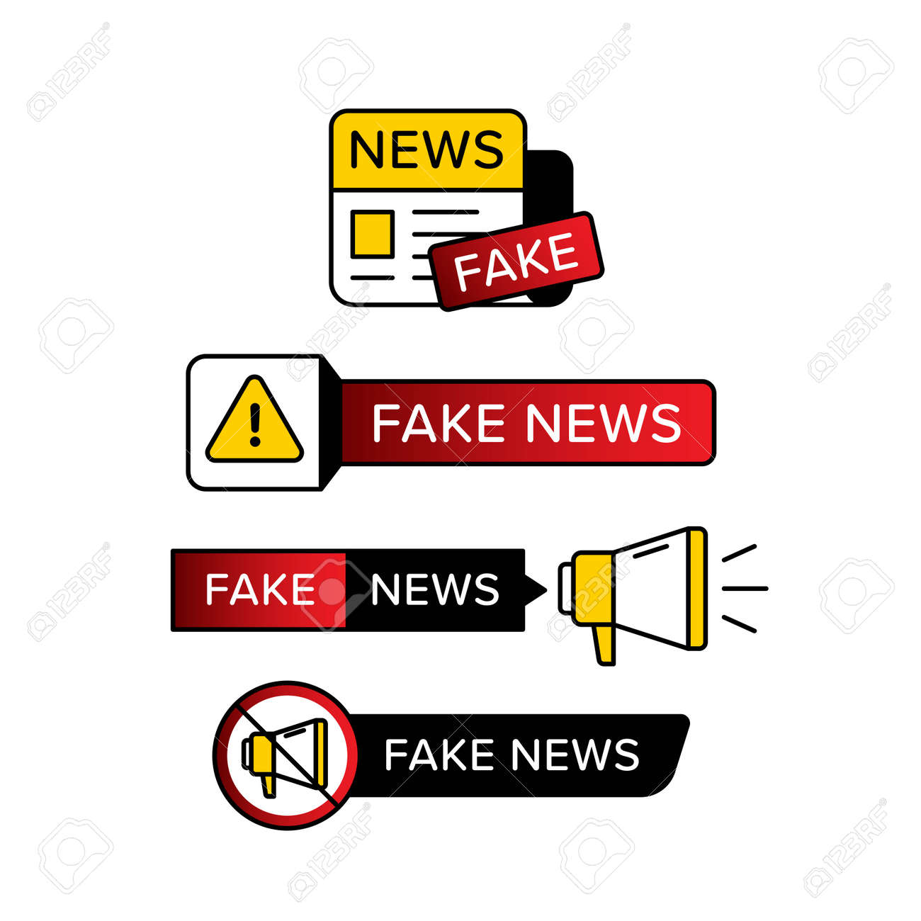 Collection of warning sign with fake news text in various shape and style. Vector illustration designed in yellow red and black . Premium vector - 162381923