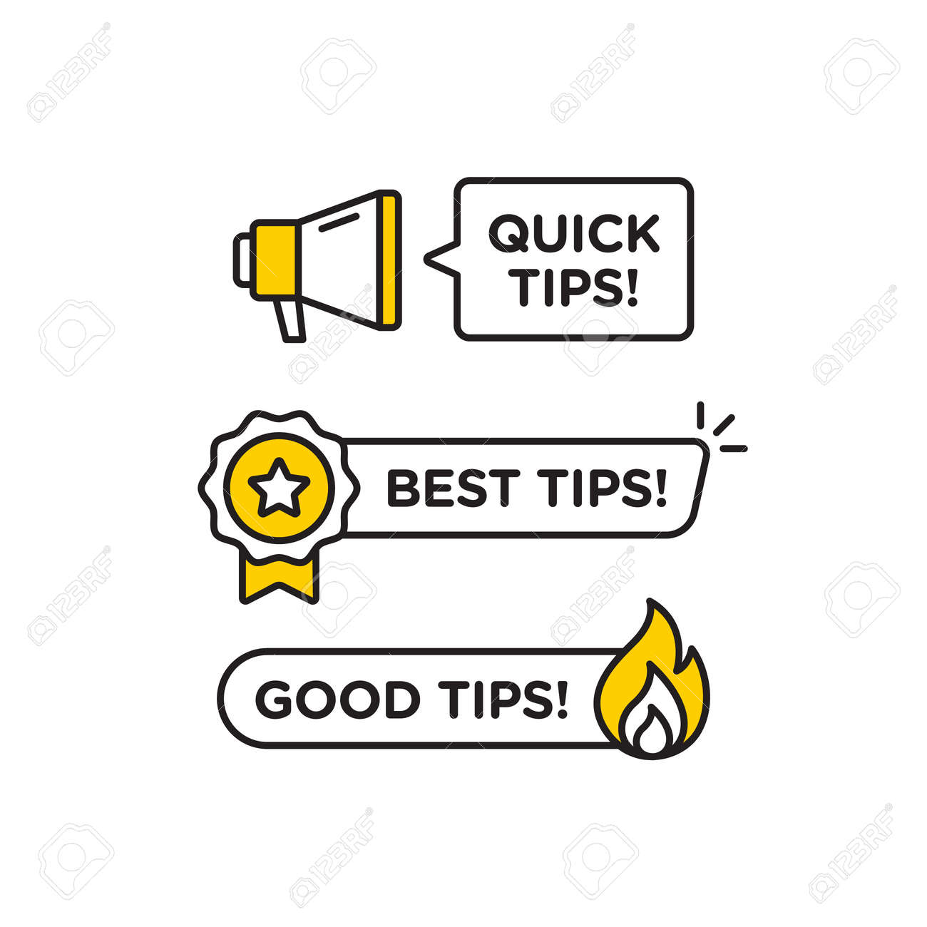 Quick tips, helpful tricks vector icon or symbol set with black and yellow color and light bulb element suitable for web. emblems and banners vector set isolated - 162382209