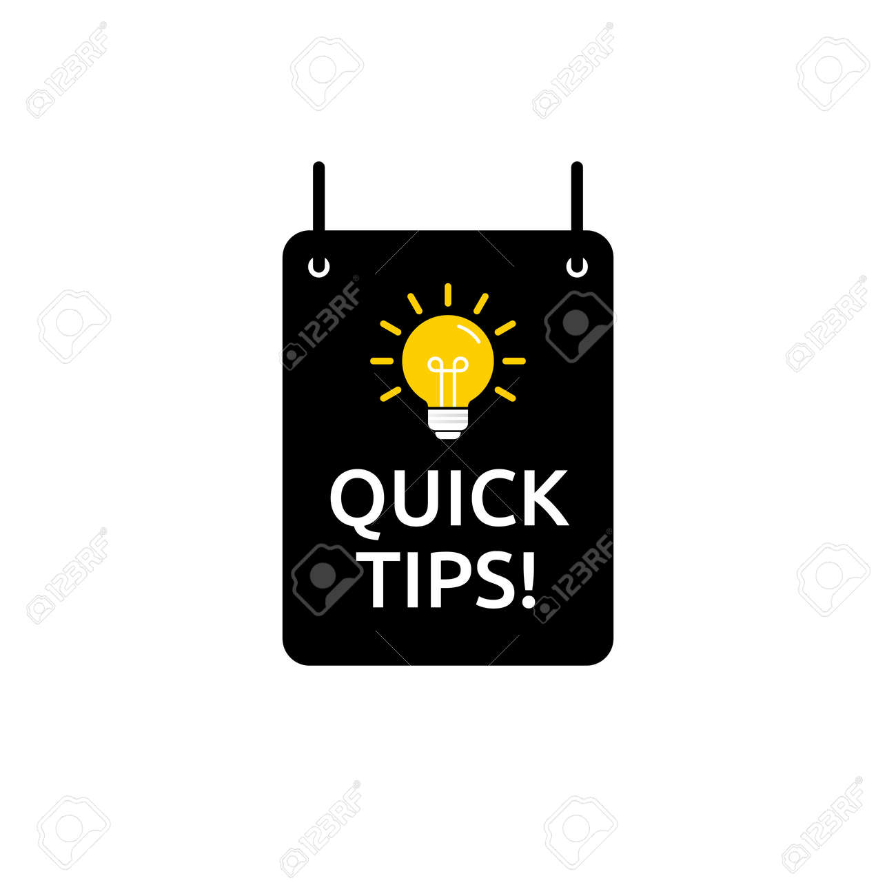 Quick tips, helpful tricks vector icon or symbol set with black and yellow color and light bulb element suitable for web. emblems and banners vector set isolated - 162382301