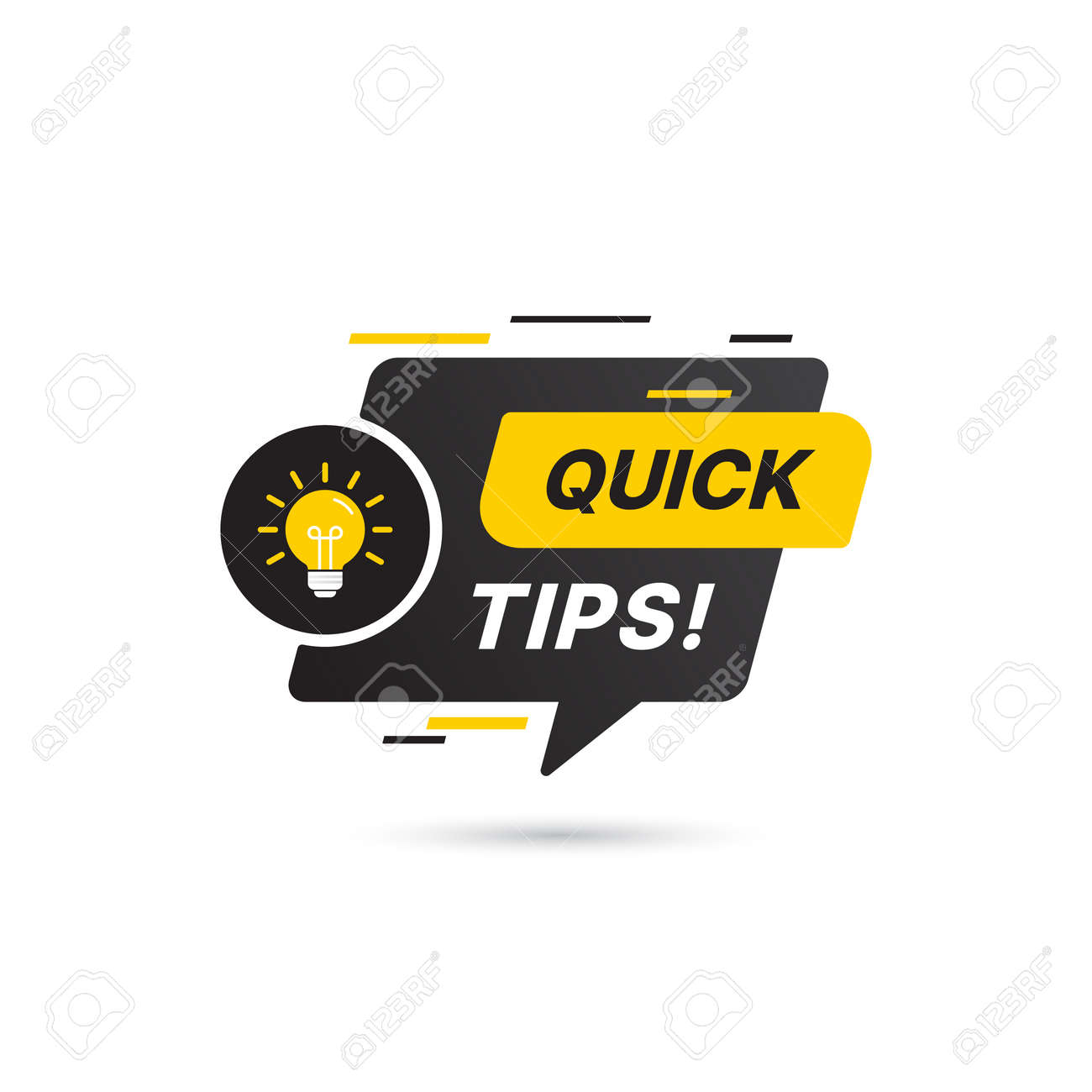 Quick tips, helpful tricks vector icon or symbol set with black and yellow color and light bulb element suitable for web. emblems and banners vector set isolated - 162382347