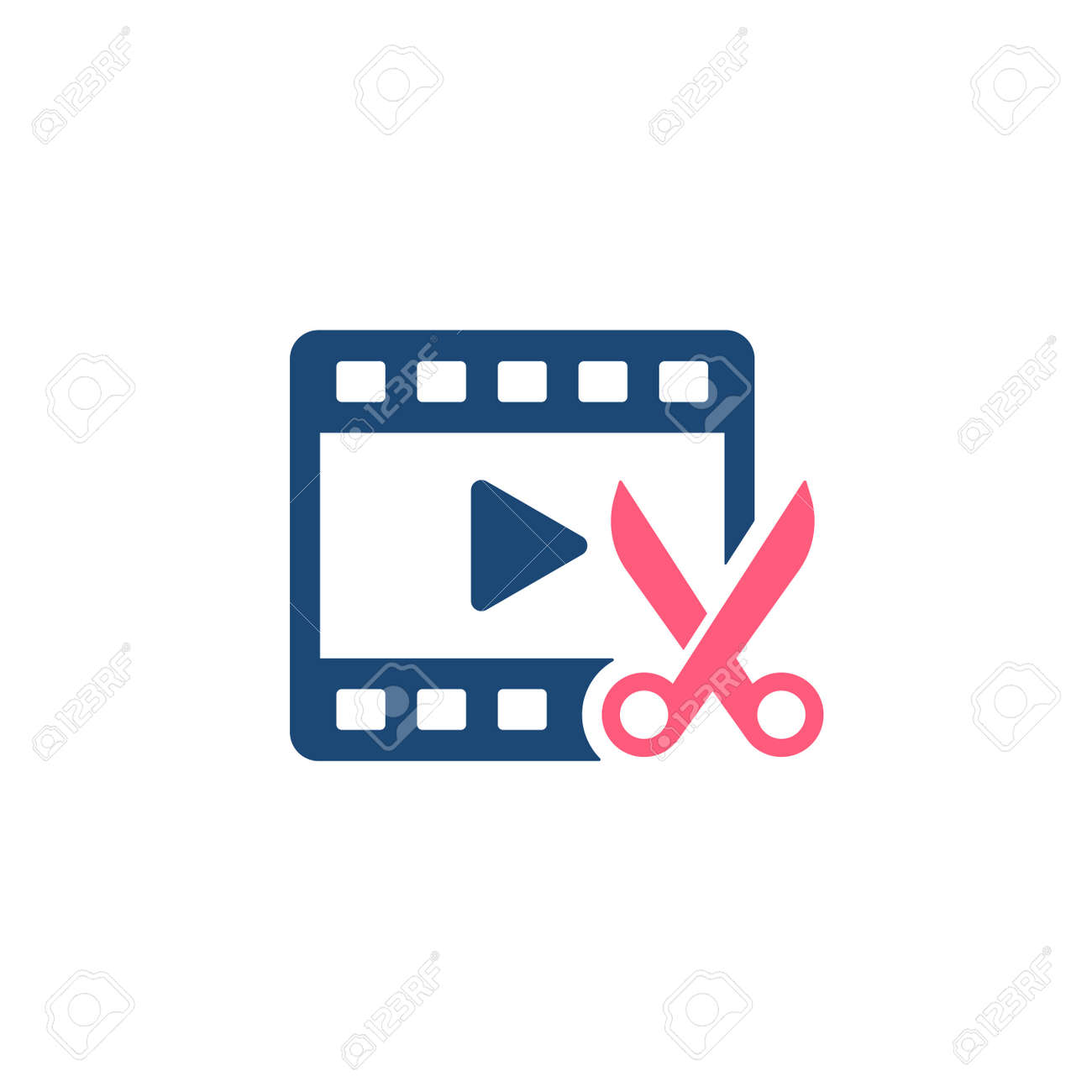 Video Editing glyph style icon. Film roll with scissors cut on it. Premium vector icon - 165730320