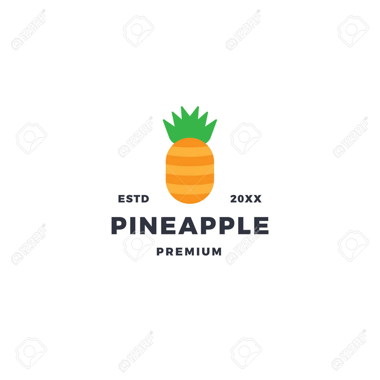 Simple pineapple logo with flat style design - 167587814