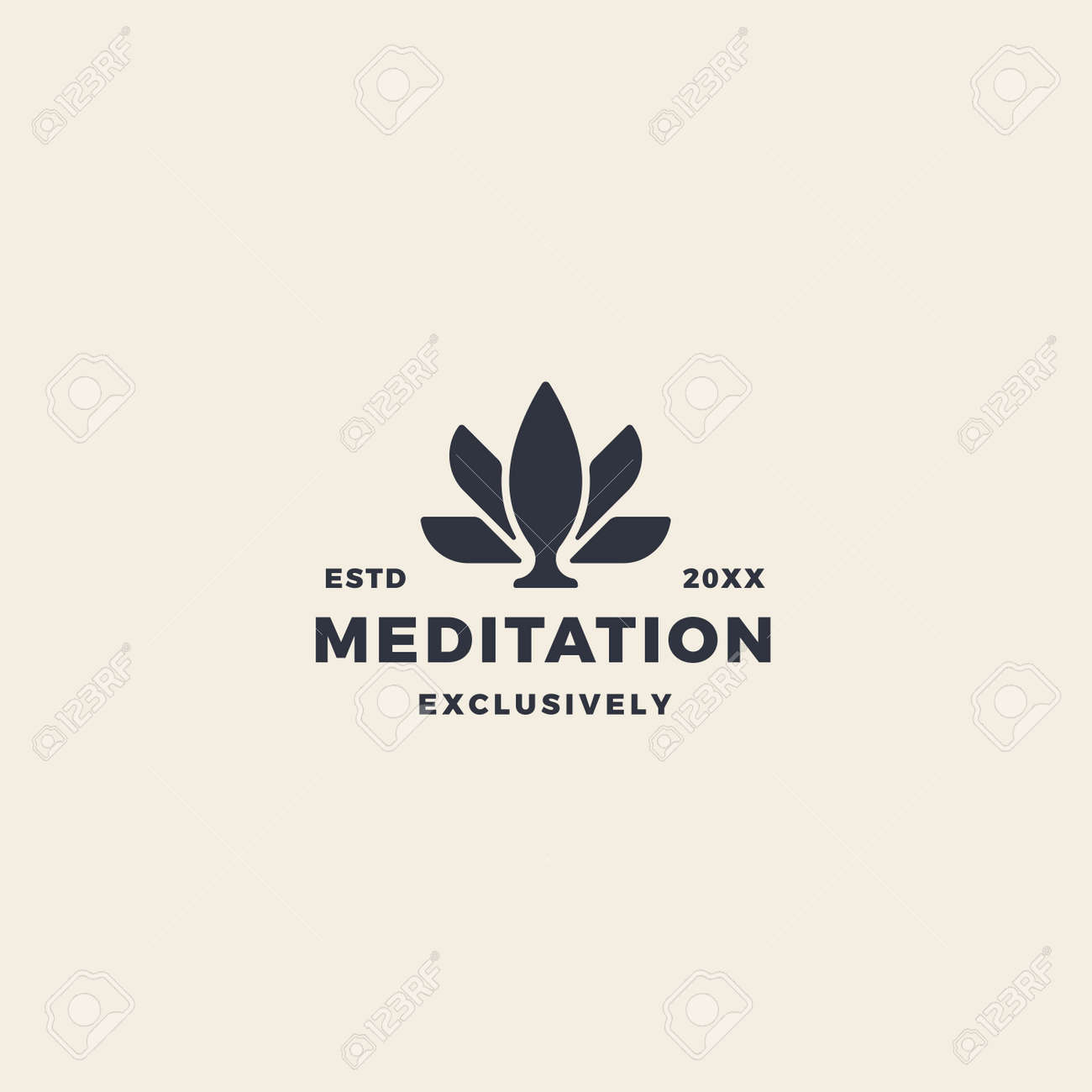 Pink lotus flower logo for meditation, beauty, fitness and yoga - 167587816