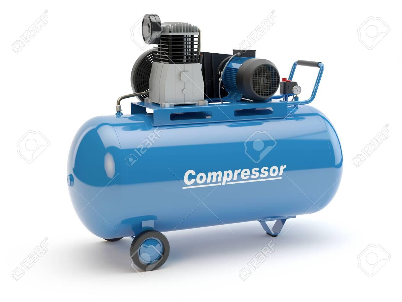 Blue Air Compressor, 3D illustration - 140877628