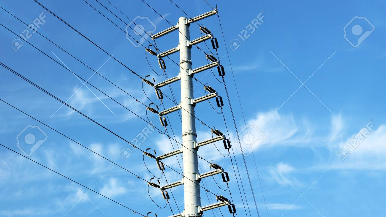 telegraph pole towering against the sky - 95175607
