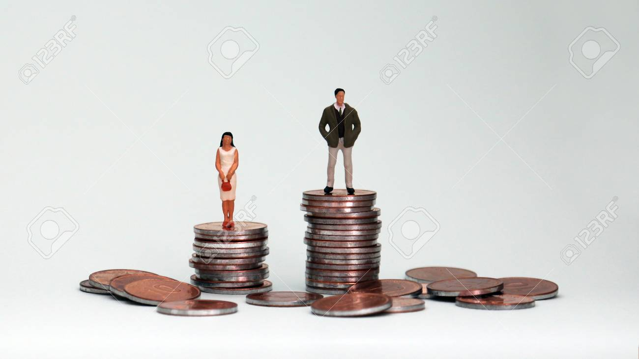 The concept of wage disparity between men and women. - 97355686