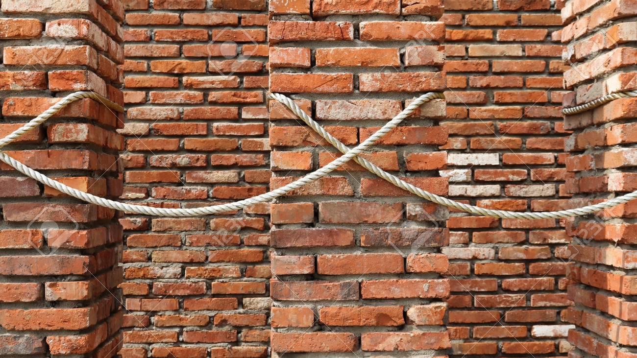 brick walls. Red Brick Walls And Rope. Stock Photo - 97400893
