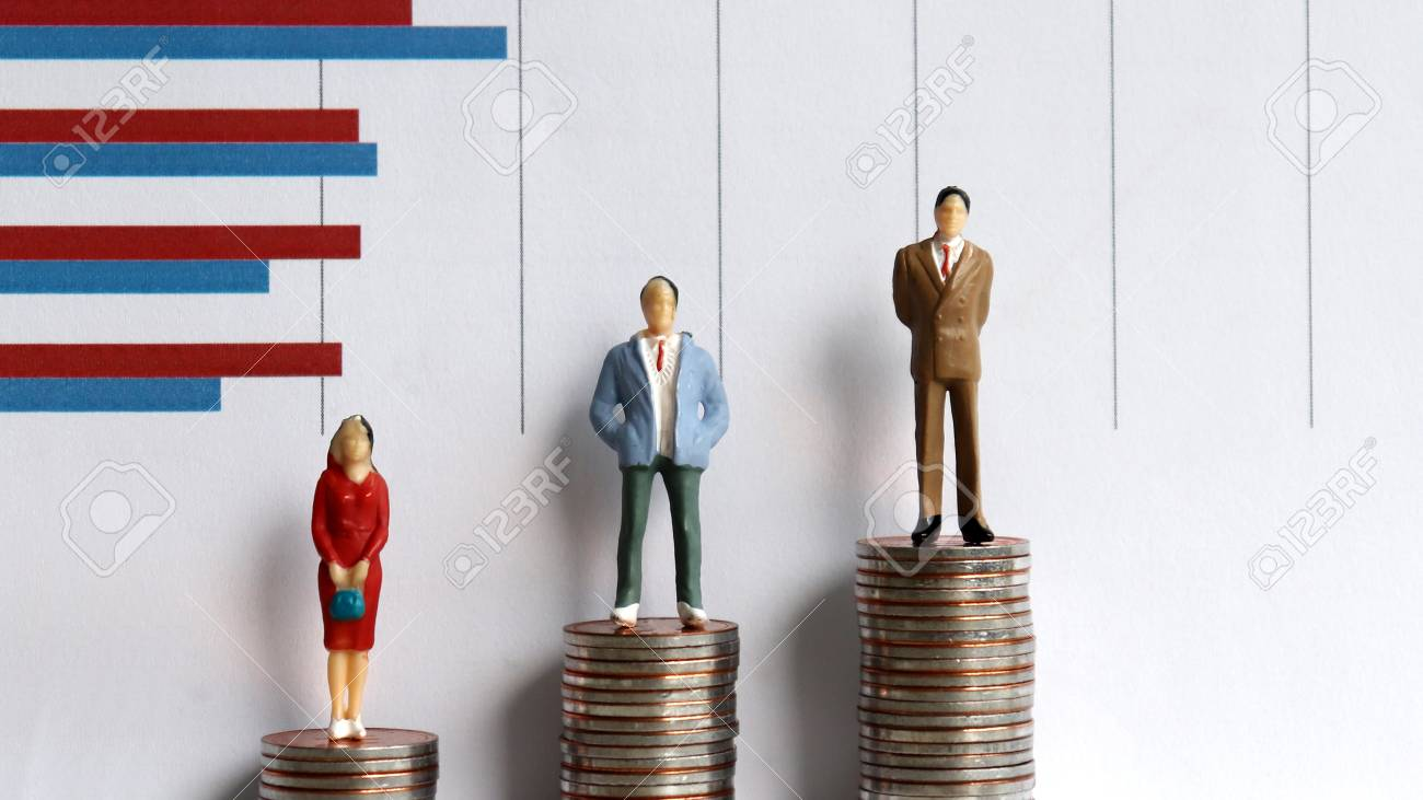 Miniature people standing on a pile of coins in front of a graph. Income gap disparity concept. - 99966146